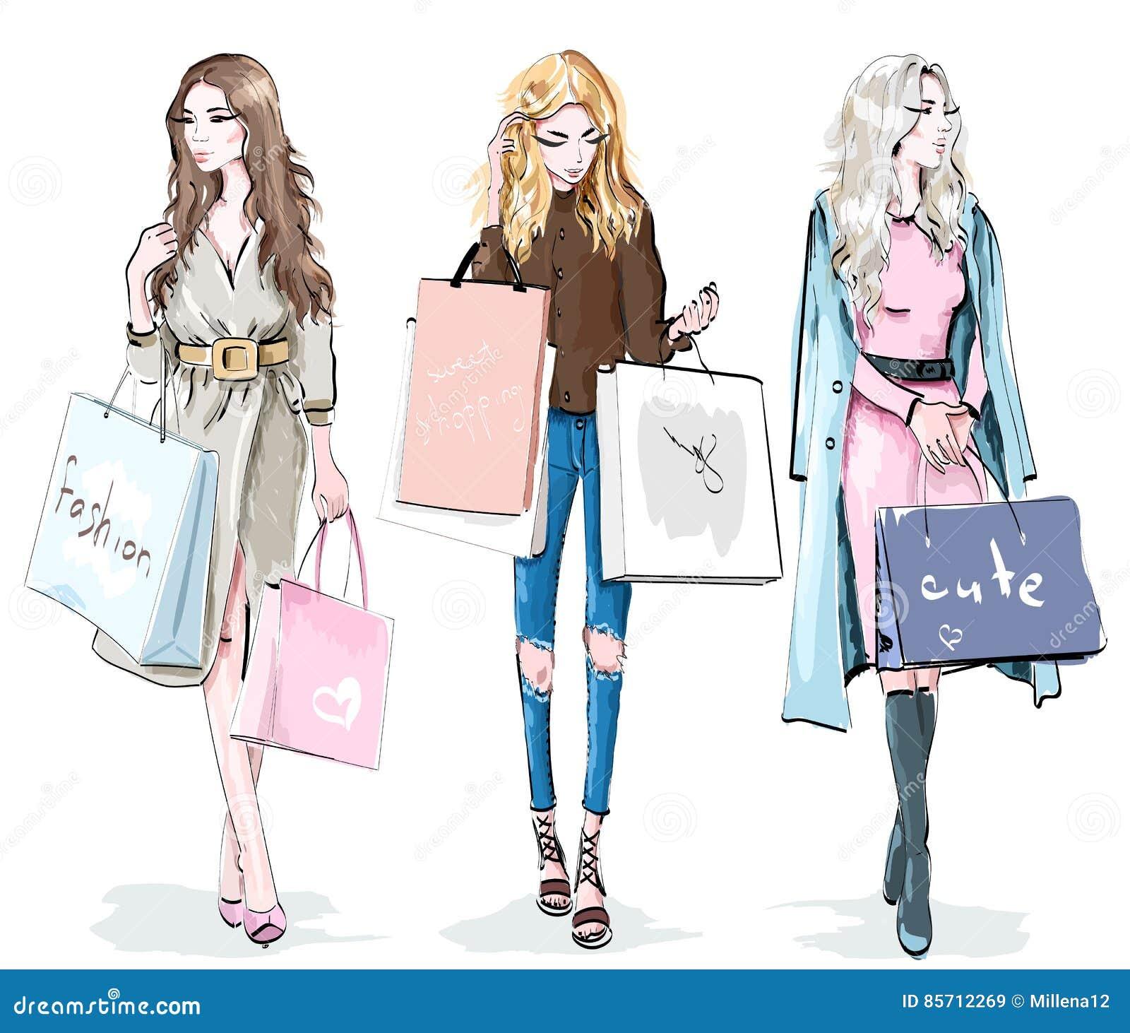 Set Of Elegant Shopping Girls Cartoon Vector ...