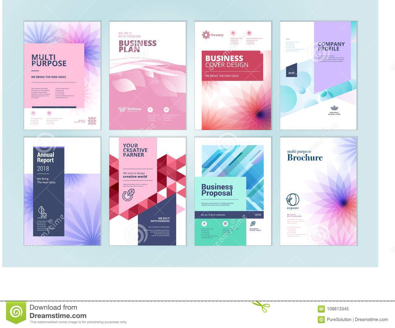 Set Of Beauty Brochure, Annual Report, Flyer Design Templates In A4 ...