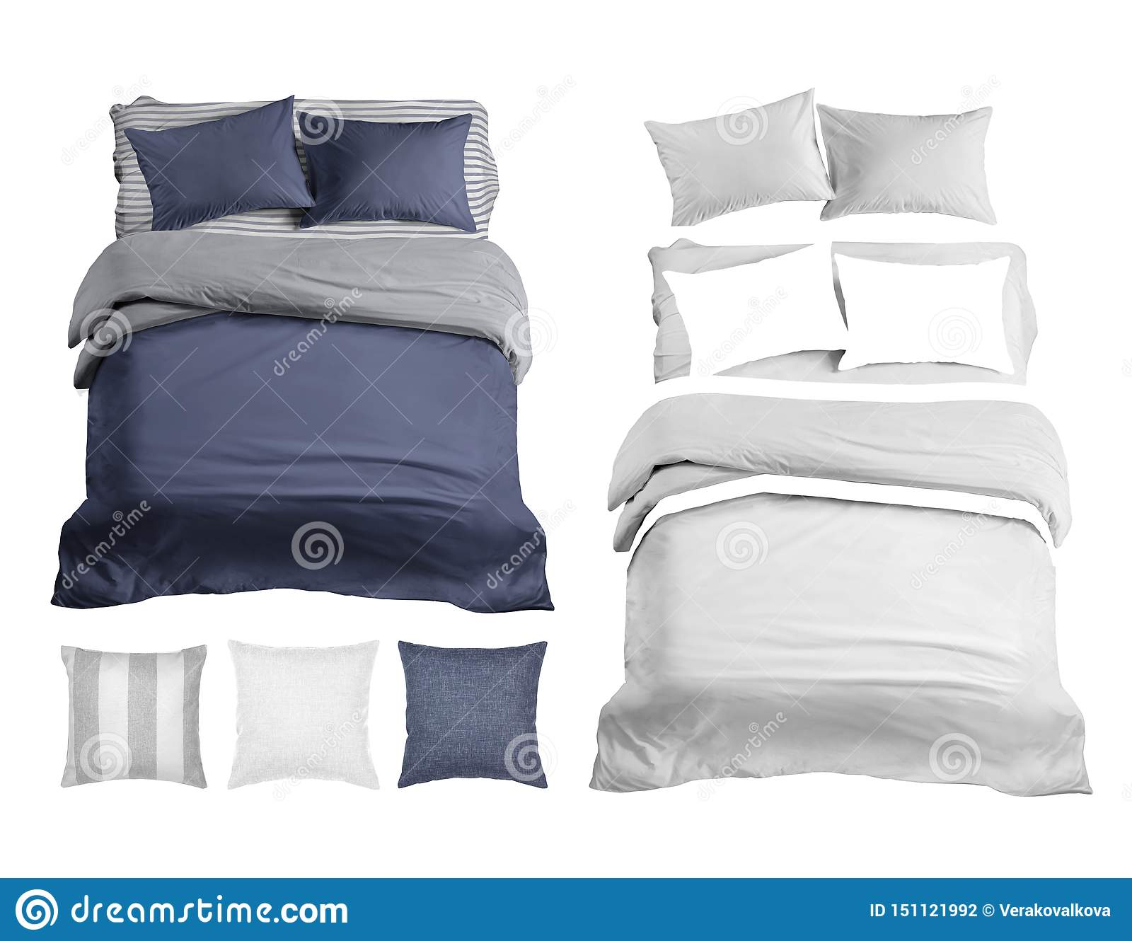 Set of bedding items mockup. Bed linen top view