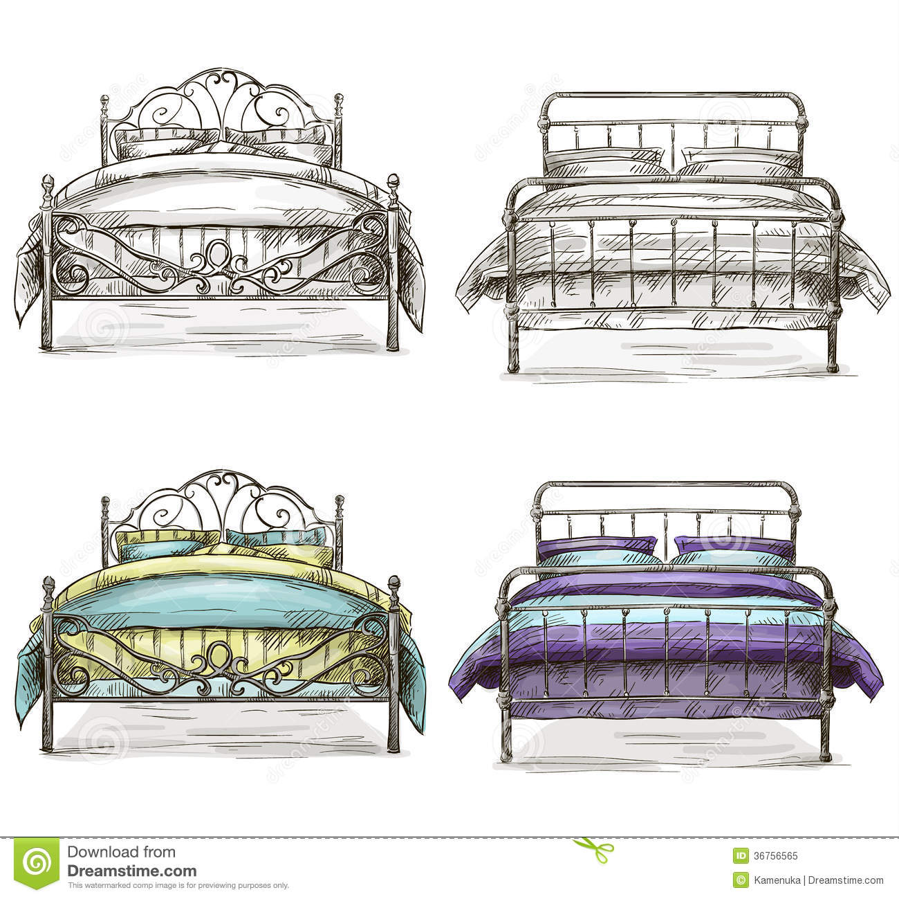 Set Of Beds Drawing Sketch Style Royalty Free Stock Photo