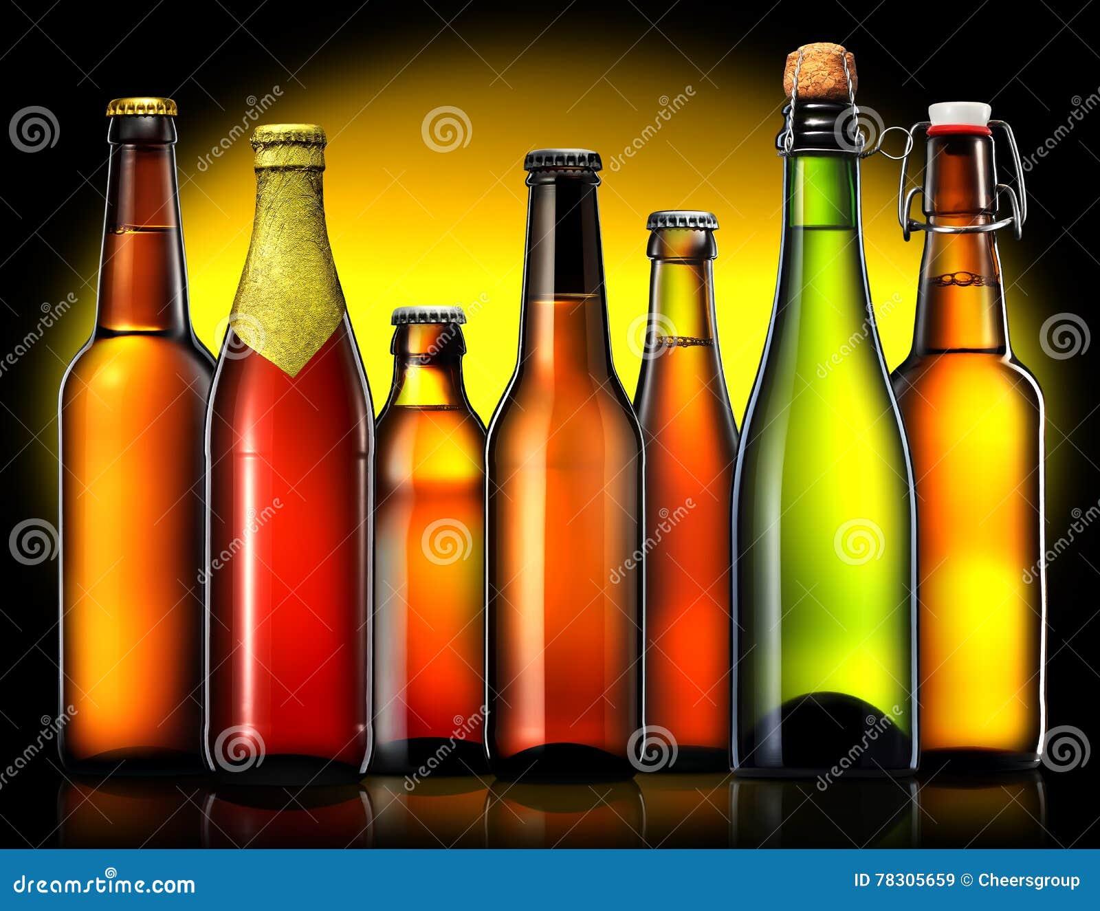 Set of beer bottles on black background