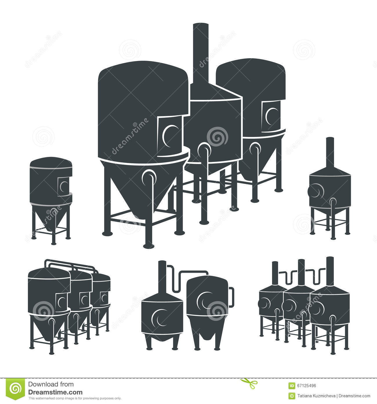 Set Beer Brewery Elements Icons Logos Vector Stock