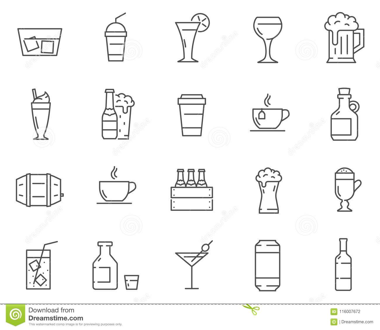 set of beverages and drinks line vector icons stock