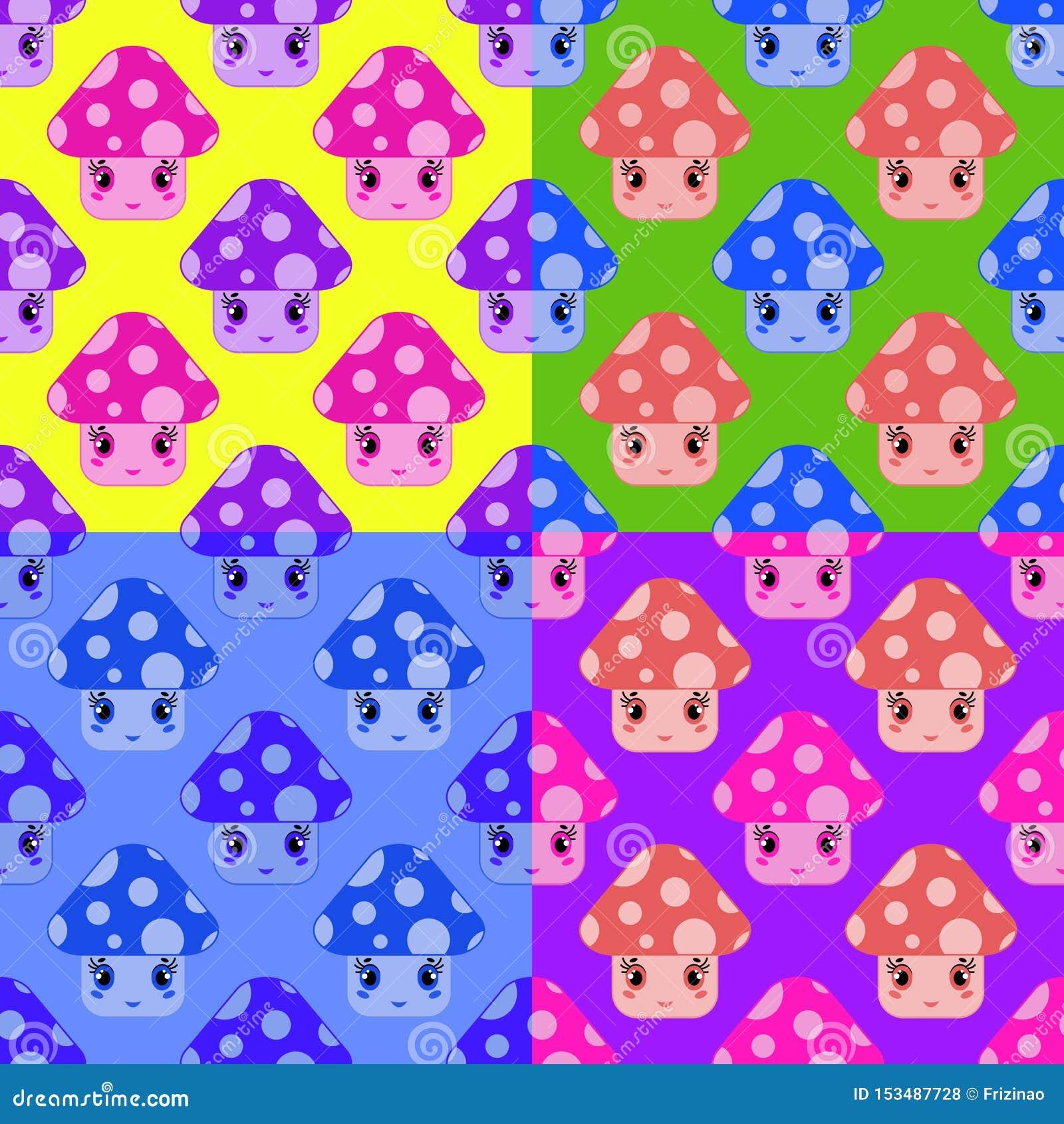 Set bezszwowi wzory od kreskówek pieczarek różni kolory na stubarwnym tle
