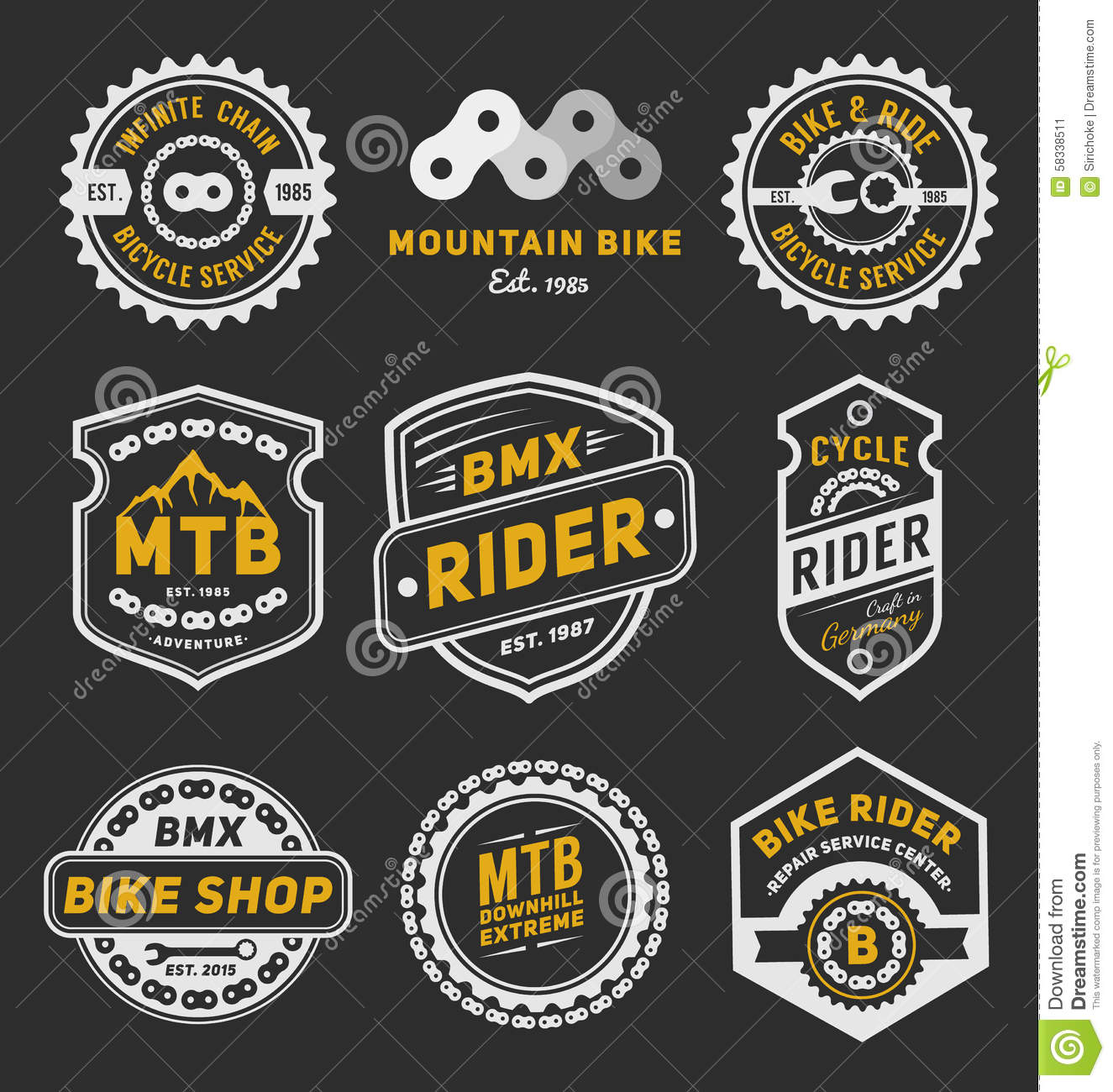 Design a bike sticker - Set Of Bicycle Badge Logo Template Design Stock Image