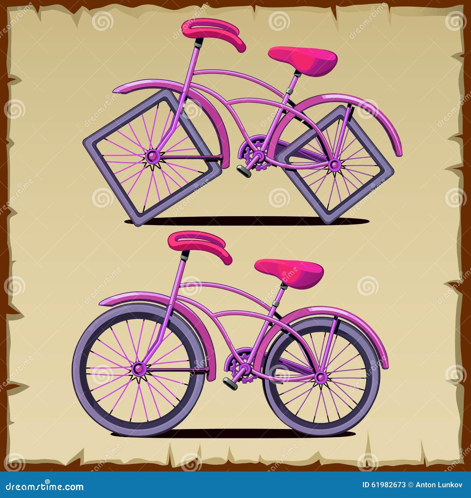 Square Wheels Bike. Cartoon Vector