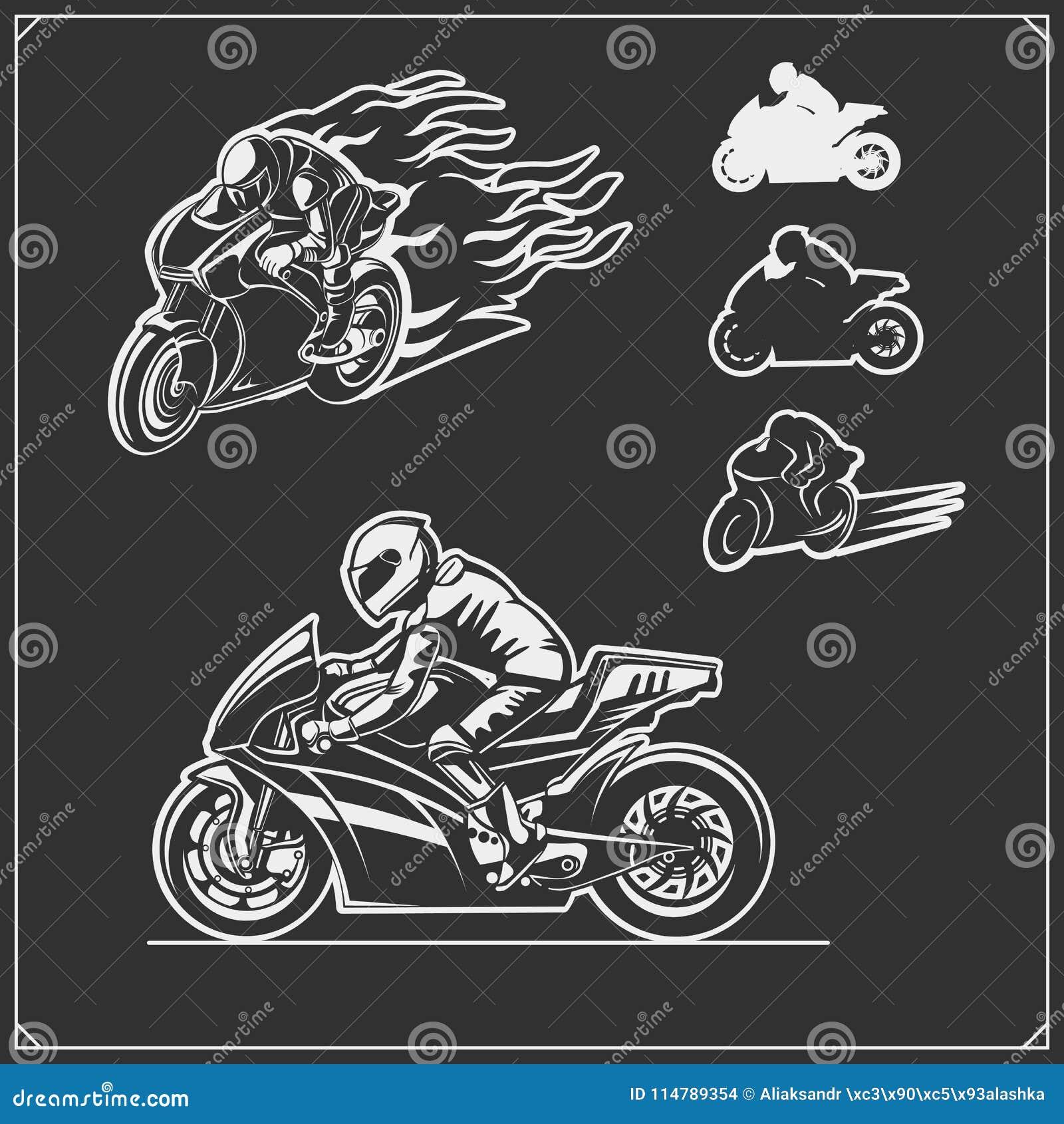 Set bieżni motocykli/lów emblematy, odznaki, etykietki i projektów elementy,