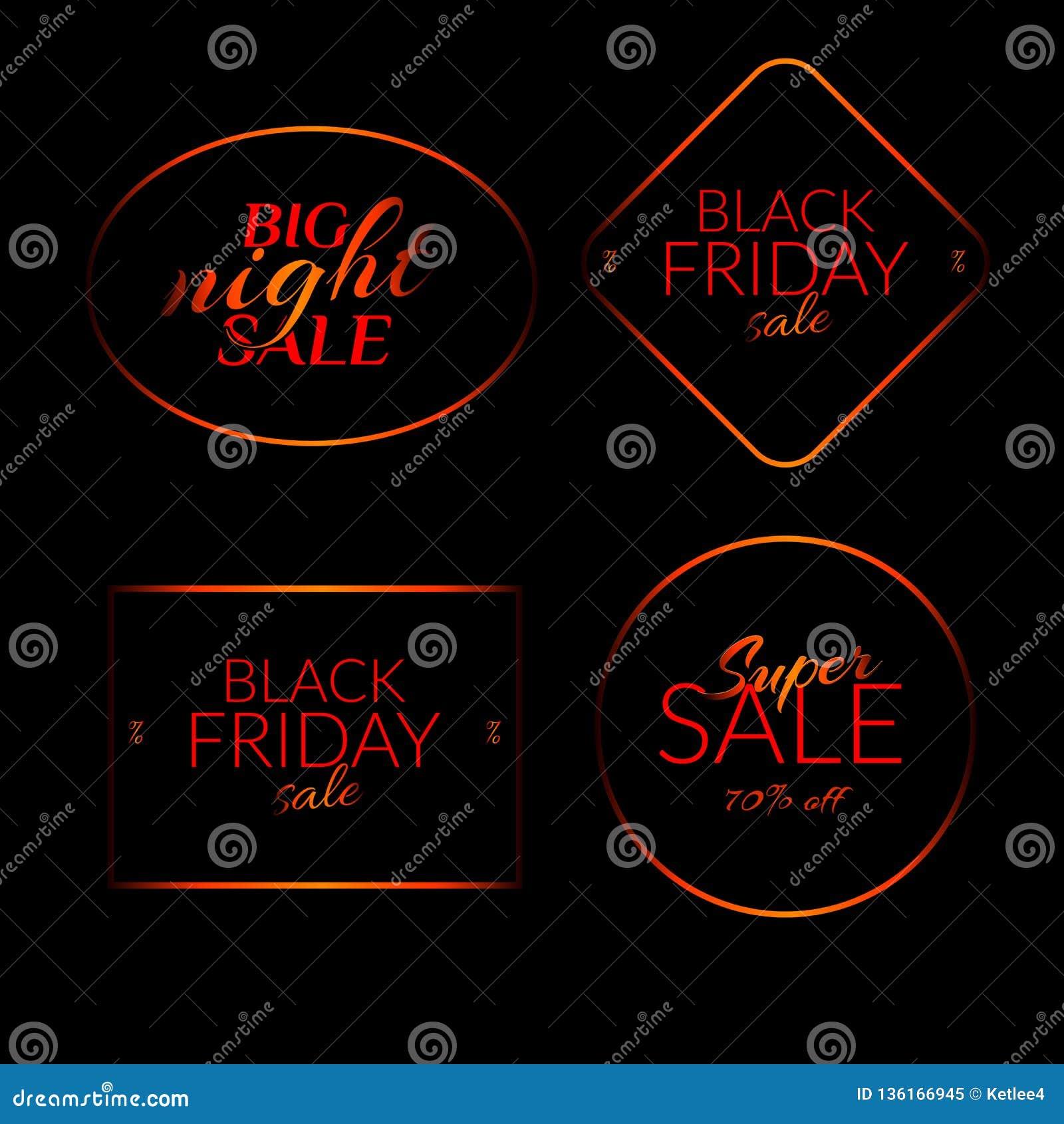 Set Big night sale Black friday sale Super sale 70  off banners on black background vector illustration