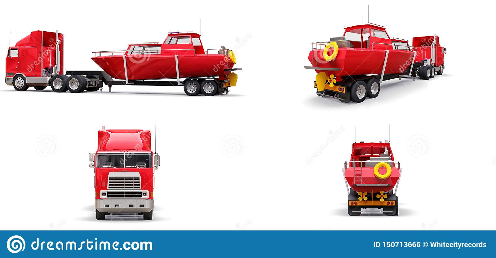 Set big red truck with a trailer for transporting a boat on a white background. 3d rendering.