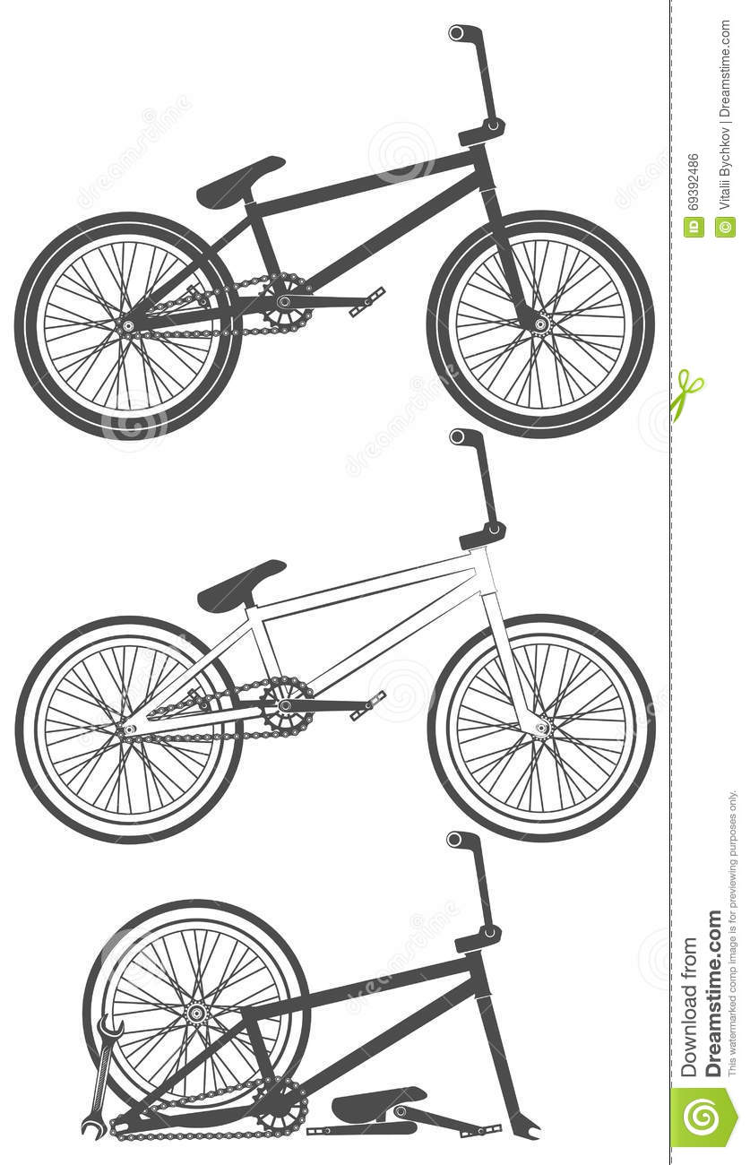 Set Of Bike Bicycle Parts Wheel Chain Stock Vector Illustration