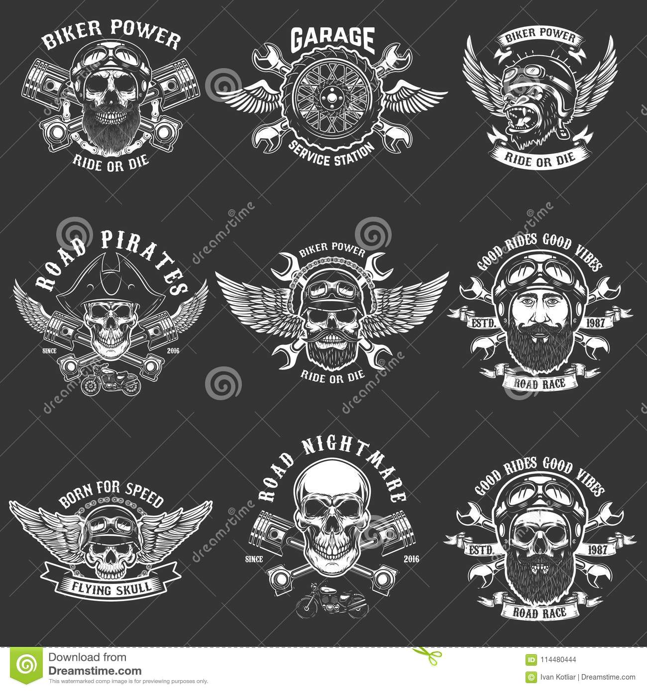 Set of biker club emblem templates. Vintage motorcycle labels. Design element for logo, label, emblem, sign.