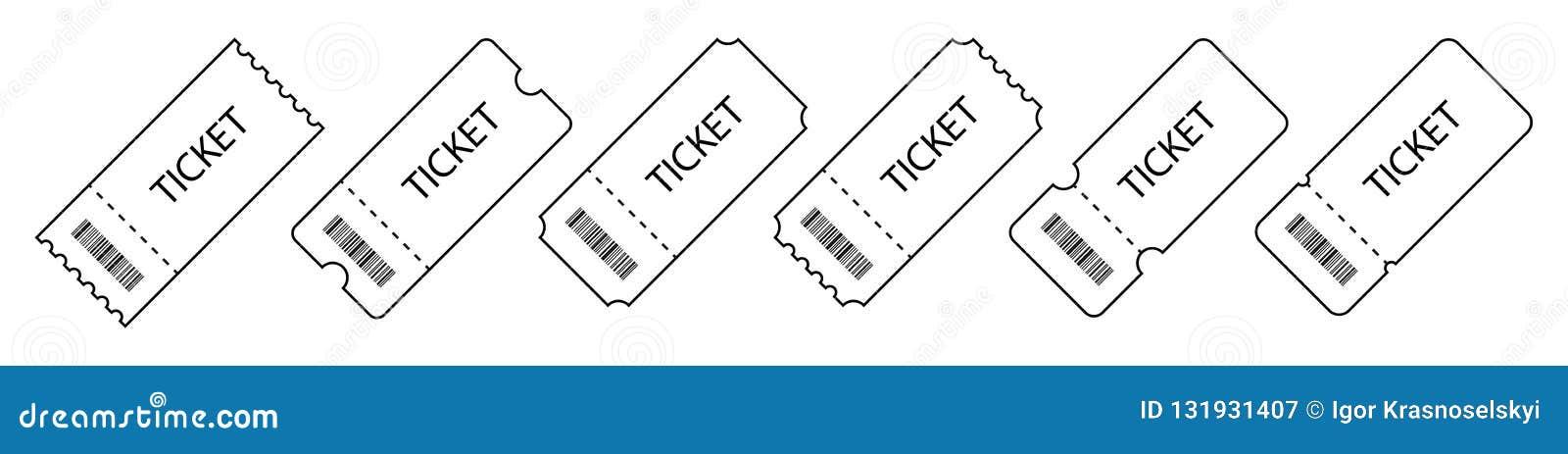 Set bilet Szablonów bilety Kolekcja rocznika grunge talonów i biletów wektor ilustracje