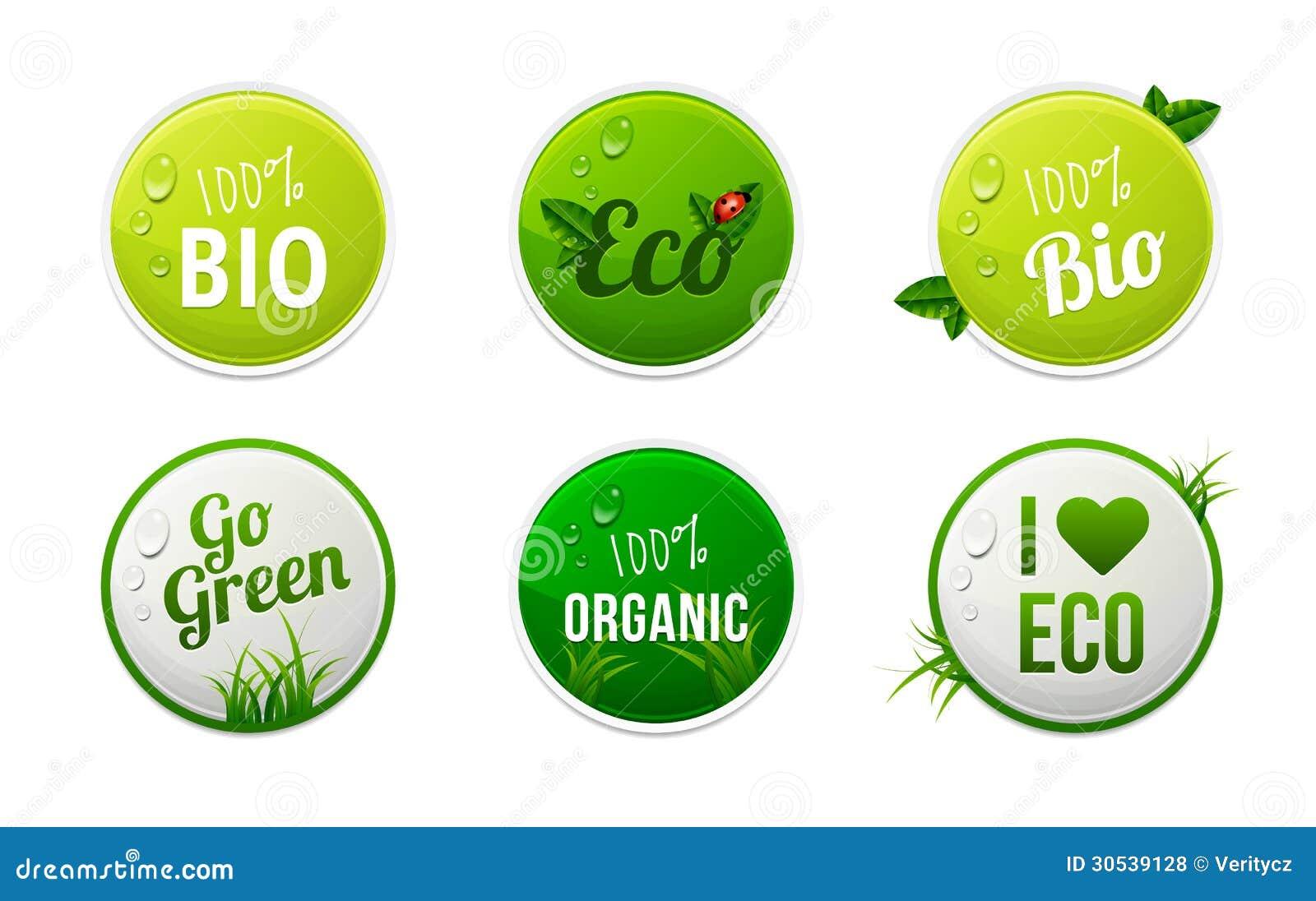 Set Of Bio Eco Organic Sticker Elements Stock Vector