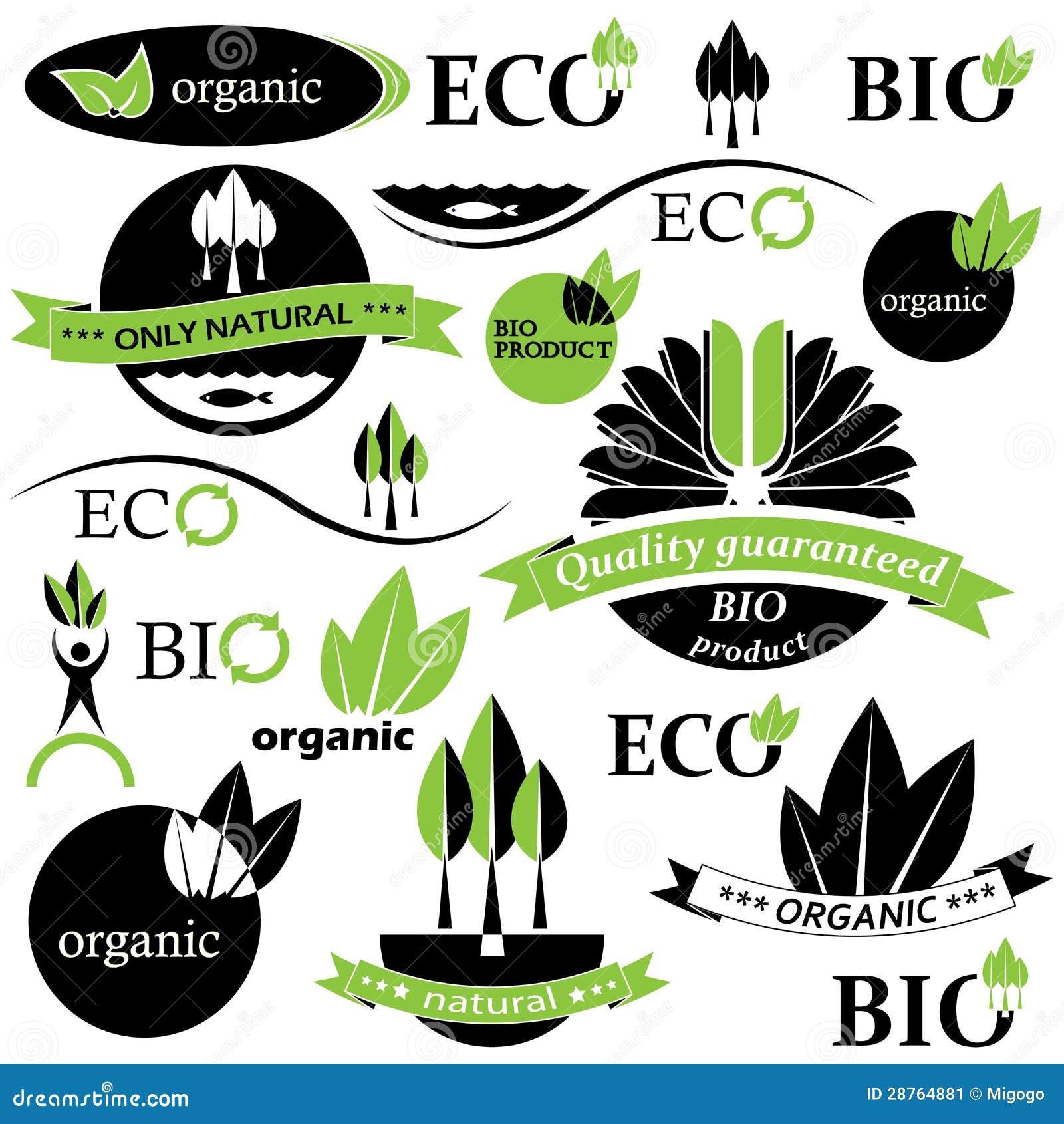 Set Bio- und organische Abzeichen und Kennsätze.