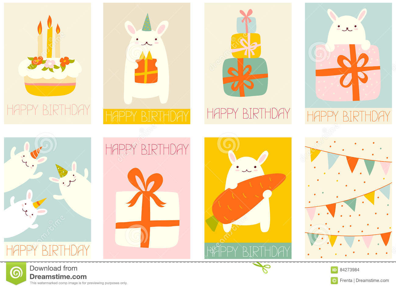 set of birthday banners with cute rabbits stock vector