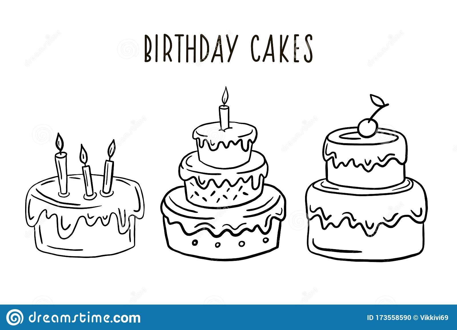 Awe Inspiring A Set Of Birthday Cakes Vector Drawing In A Linear Style Cake Birthday Cards Printable Benkemecafe Filternl