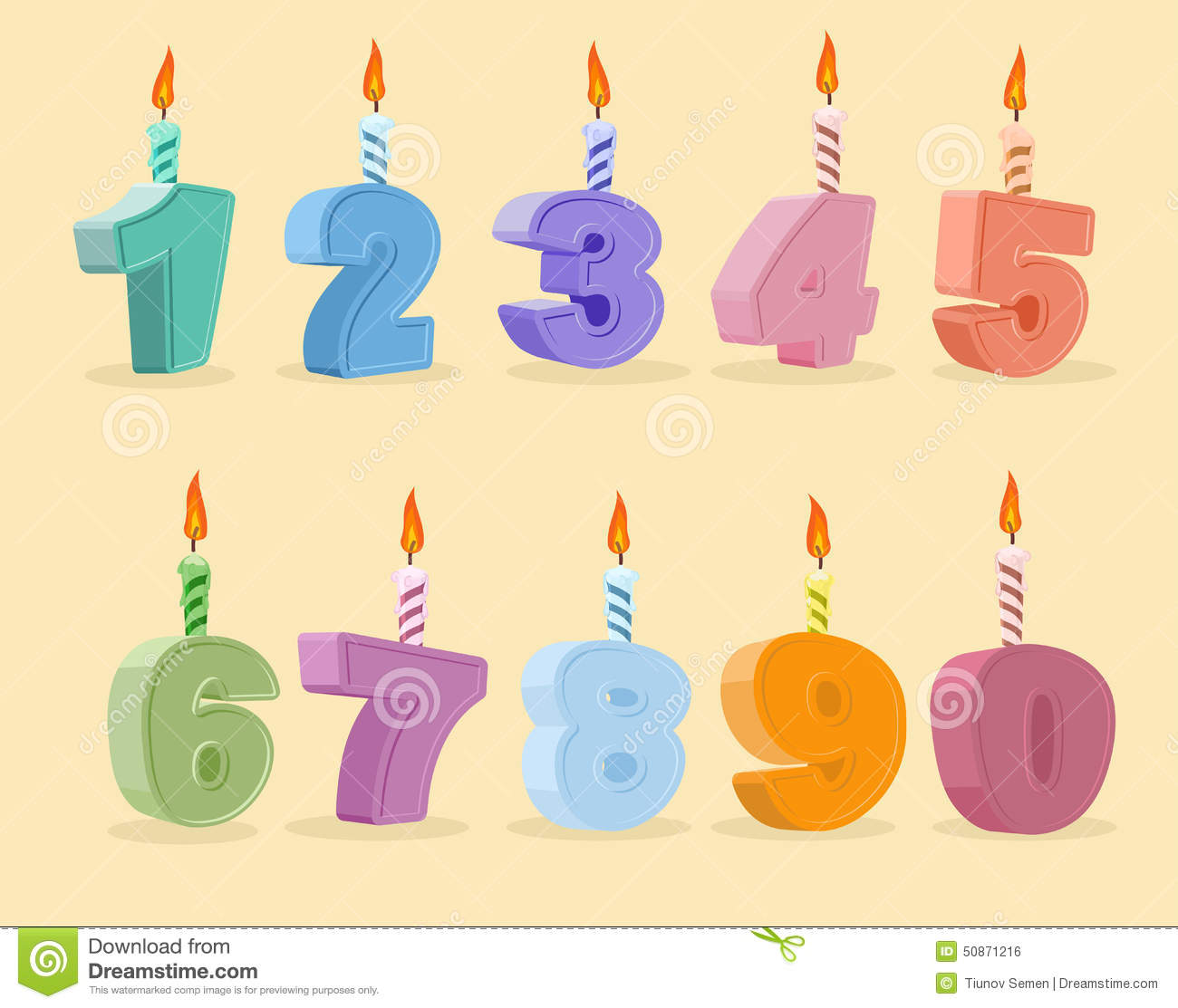 Set Birthday Candles Cartoon Numbers Vector Illustration