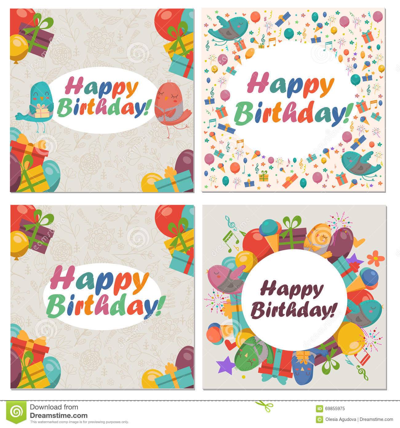 Set of birthday card with cute birdsflowers and balloonsice birthday dhlflorist Choice Image