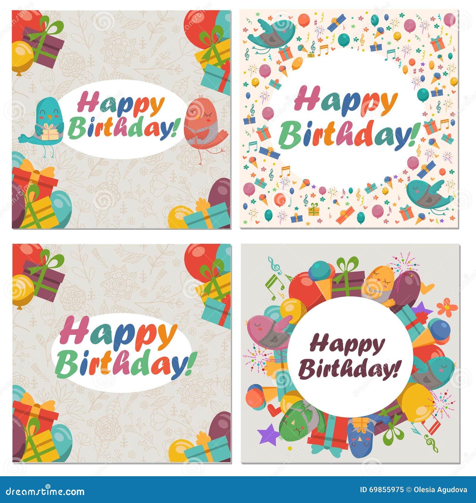 Set Of Birthday Card With Cute Birdsflowers And Balloonsice Cream