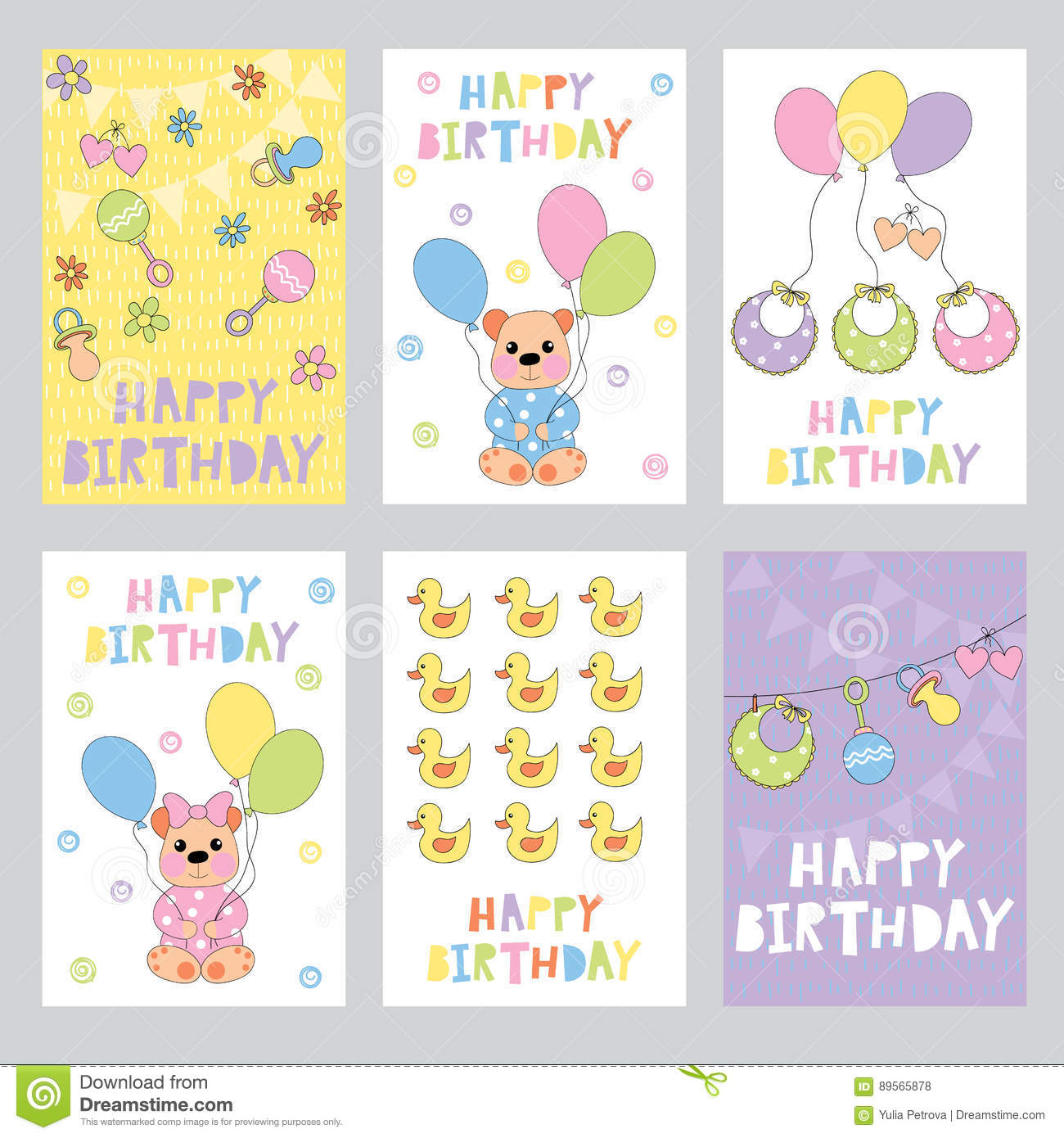 Set Of Birthday Cards For Baby Stock Vector Illustration Of