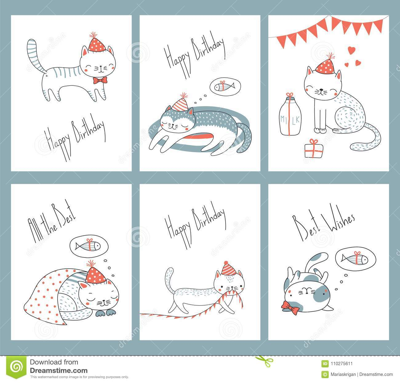 Set Of Birthday Cards With Cats