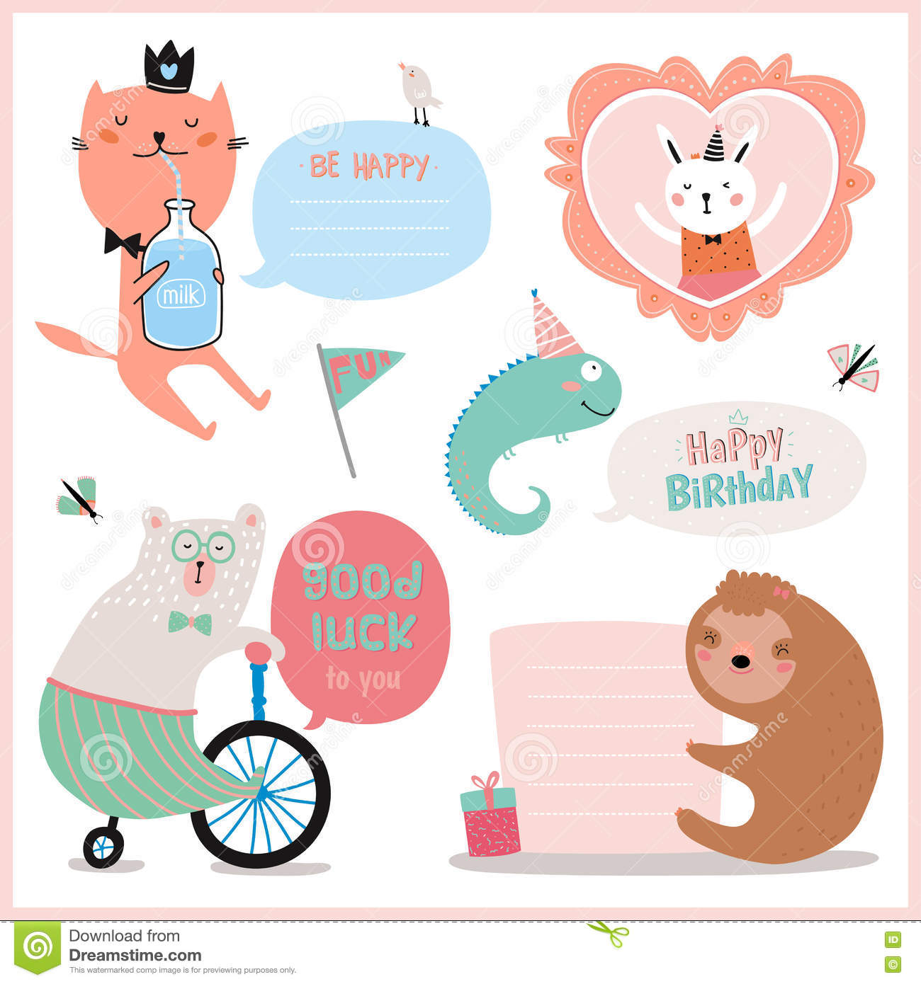set of birthday cards gift tags labels stock vector illustration