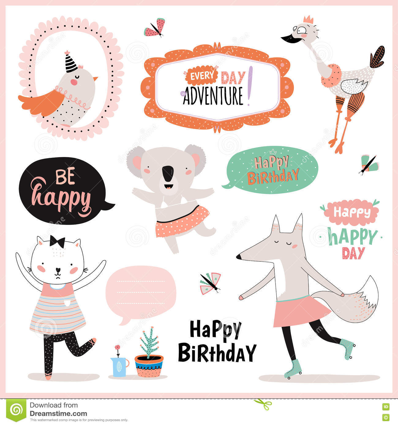 Set Of Birthday Cards Gift Tags Label Templates And Stickers With Funny Cute Animals Vector White Background