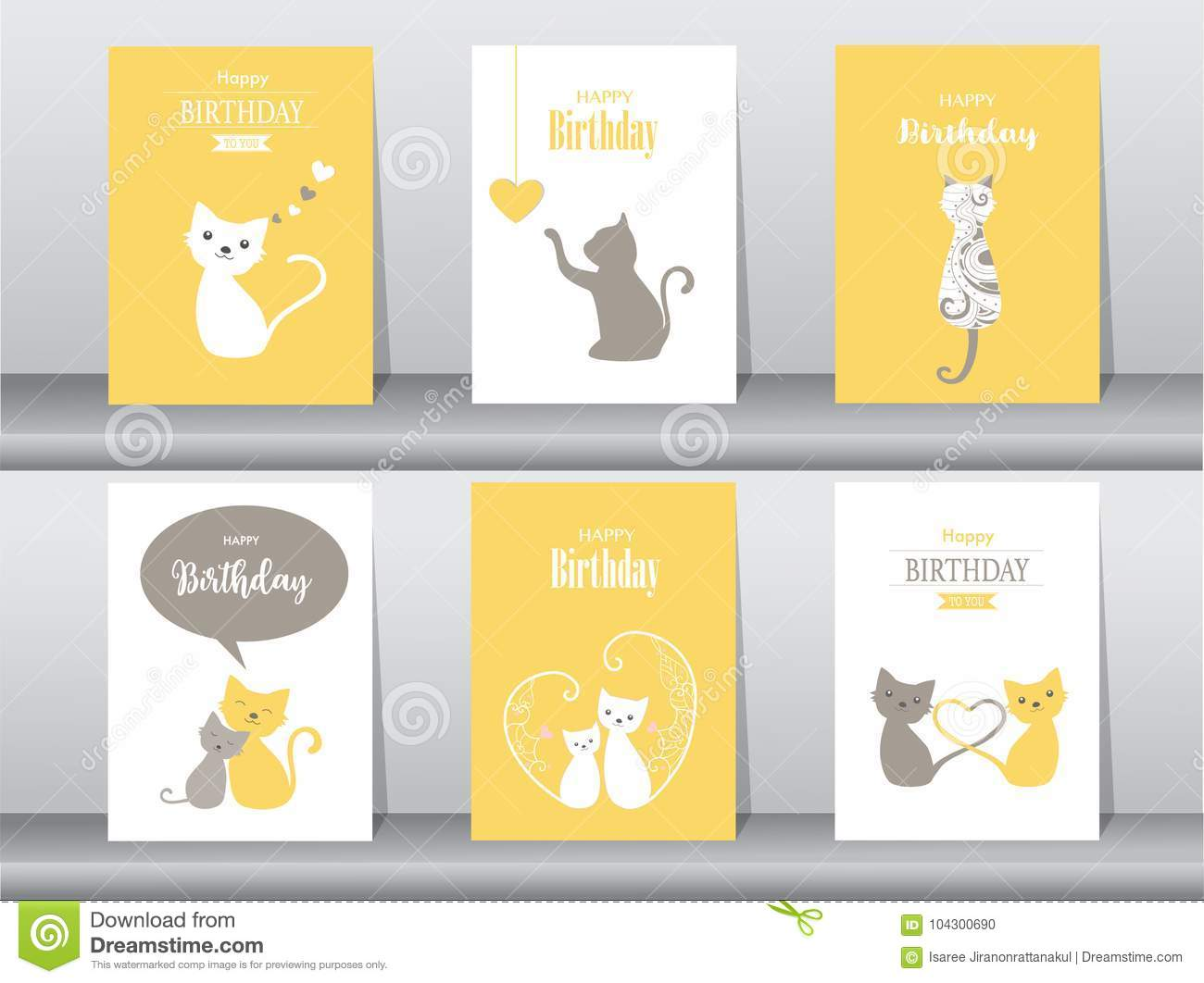 Set of birthday cards,poster,invitation cards