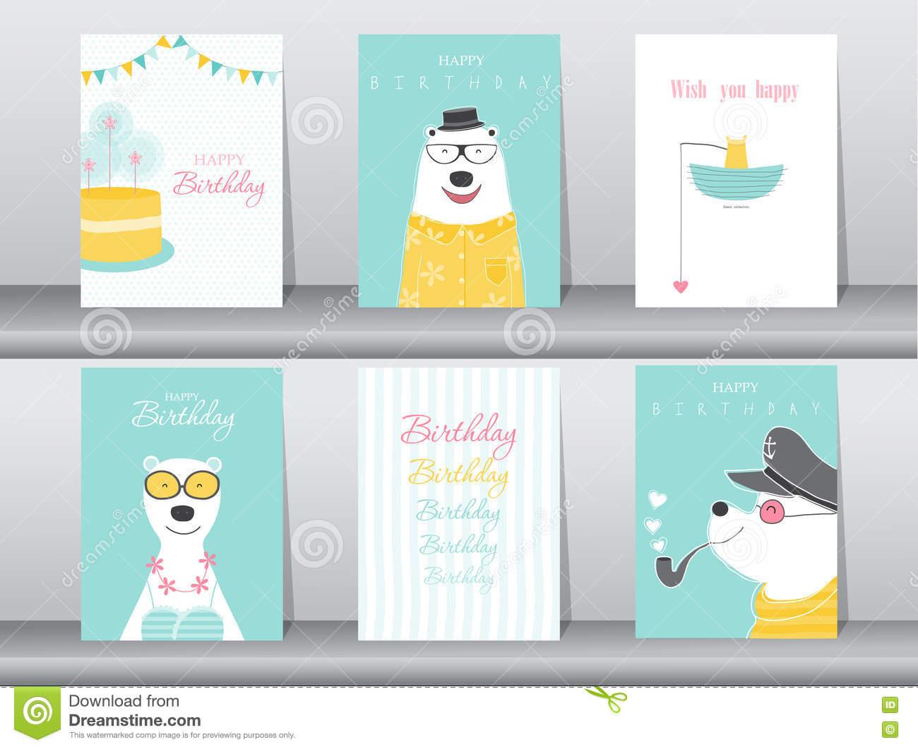 Set Of Birthday Cardsposterinvitation Cardstemplategreeting – Set of Birthday Cards