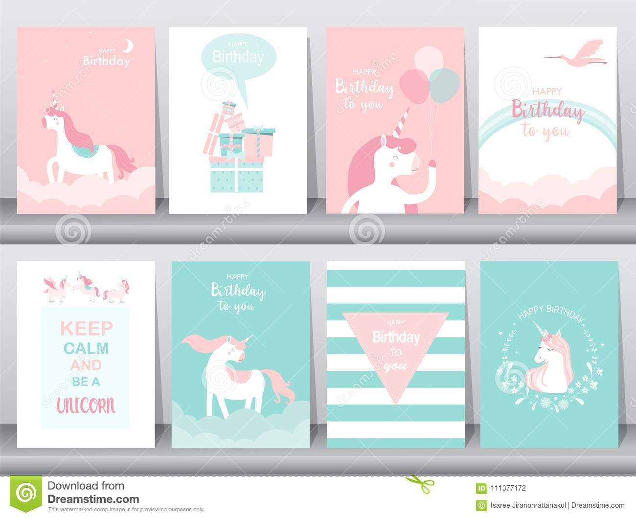 Set Of Birthday Cards Poster Invitations Cards Template