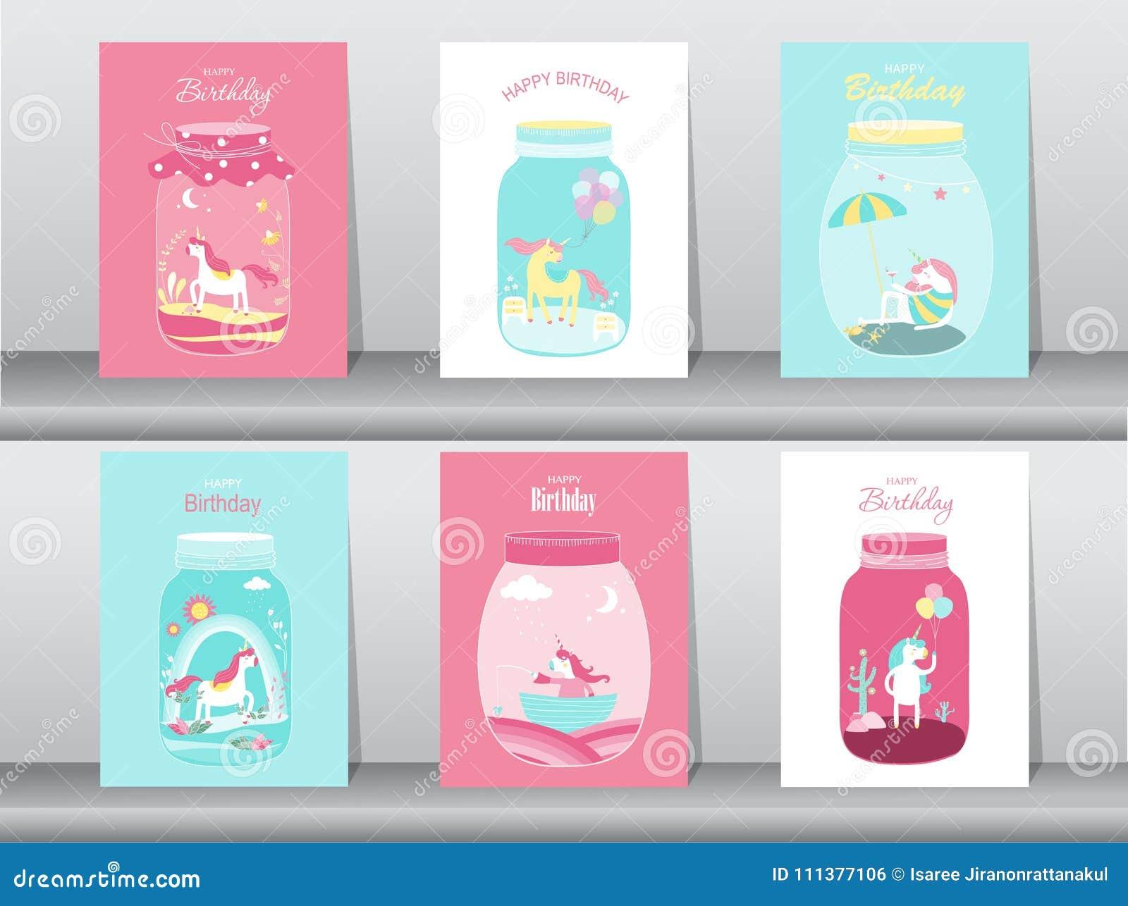 Set Of Birthday Cardsposterinvitations Cardstemplategreeting Cards