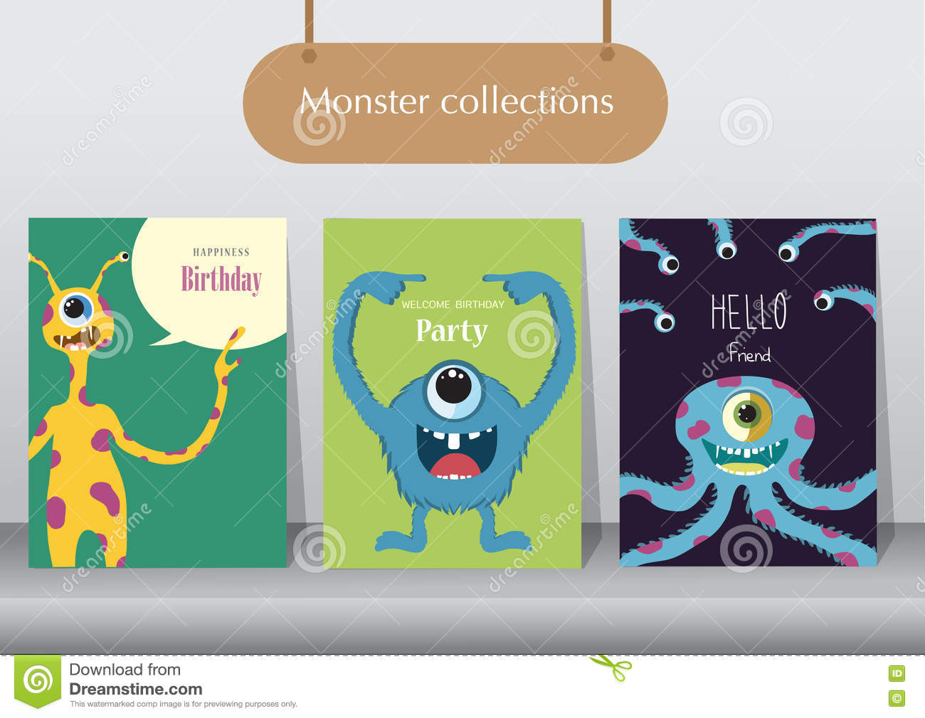 Set of birthday cards, poster, template, greeting cards, animals, monster, Vector illustrations