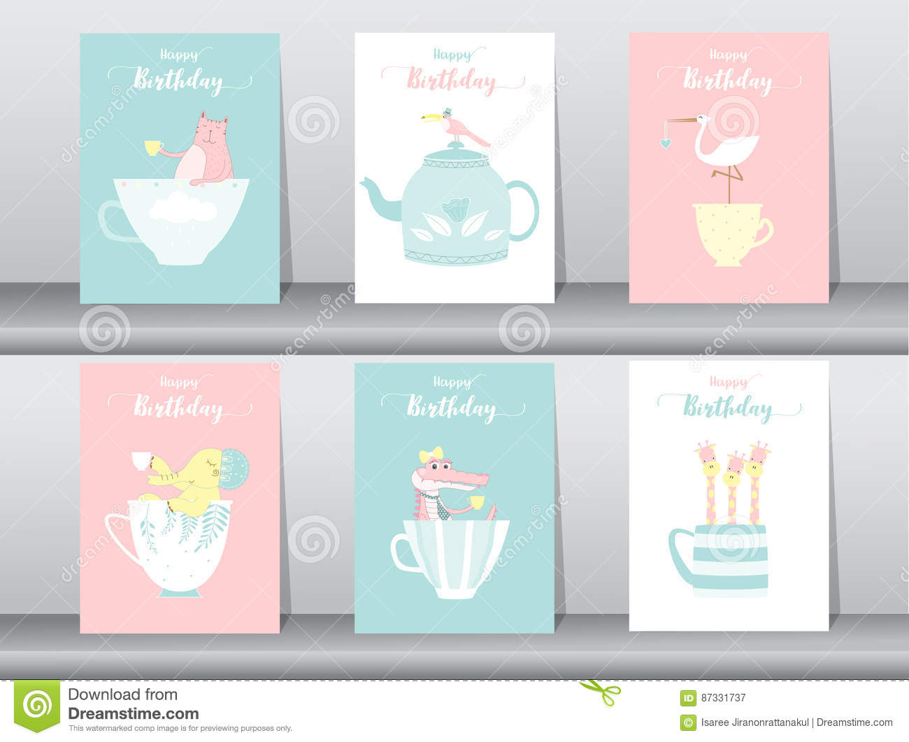 Set of birthday cards,poster,template,greeting cards,sweet,animals,Vector illustrations