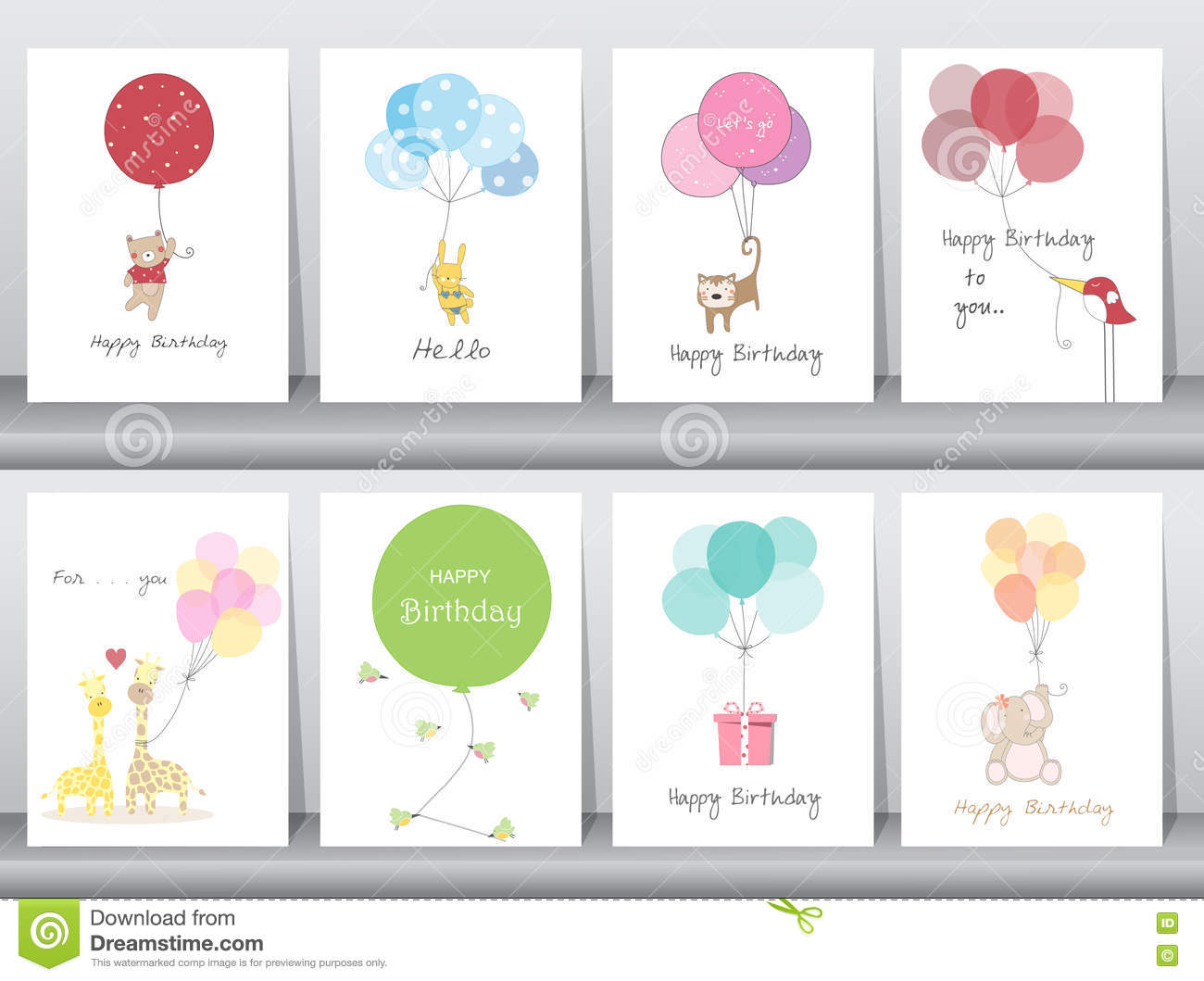 Set Of Birthday Cardspostertemplategreeting Cardssweetballoons