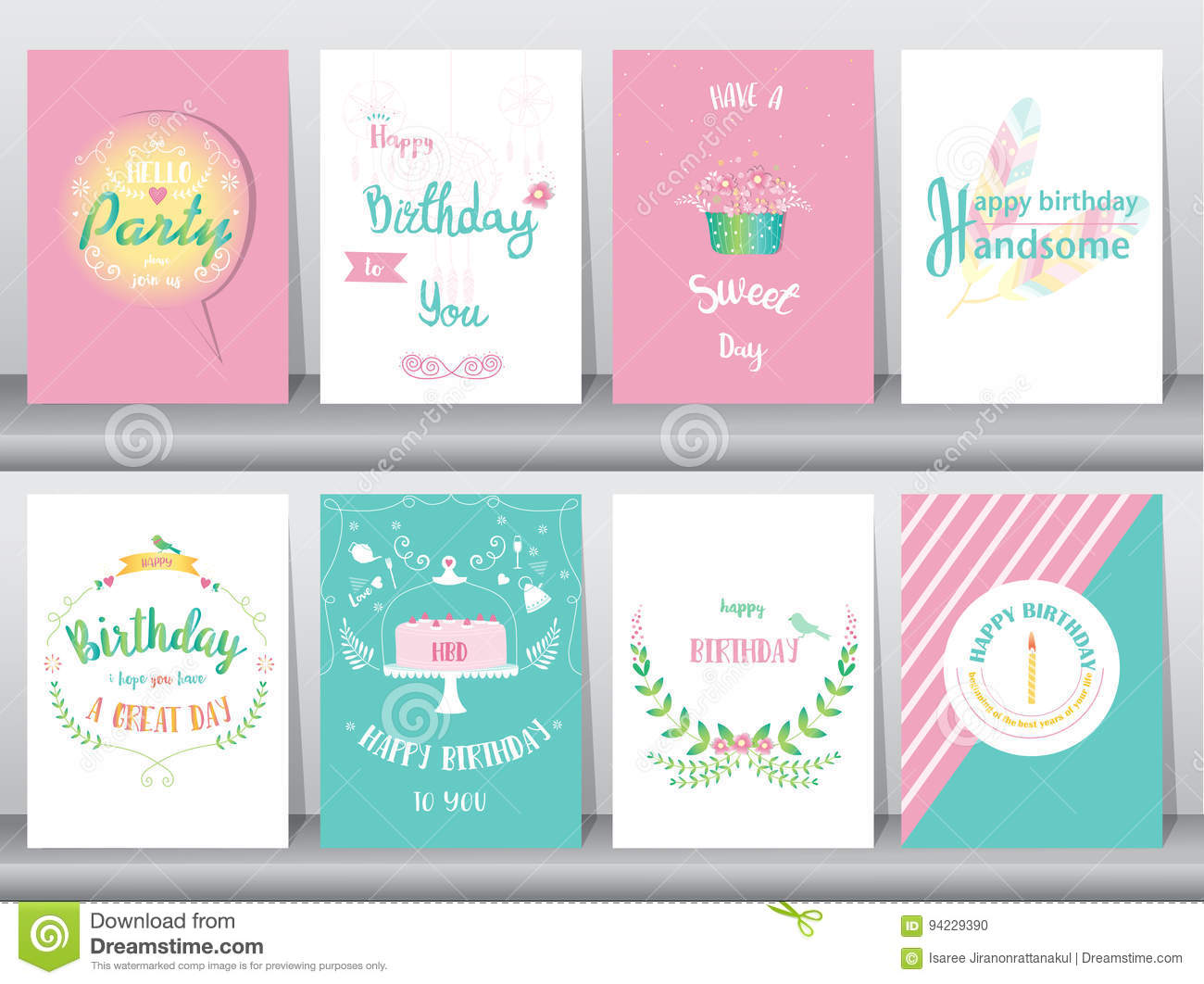 Set of birthday cards,poster,template,greeting cards,sweet,balloons,cake,feather,Vector illustrations