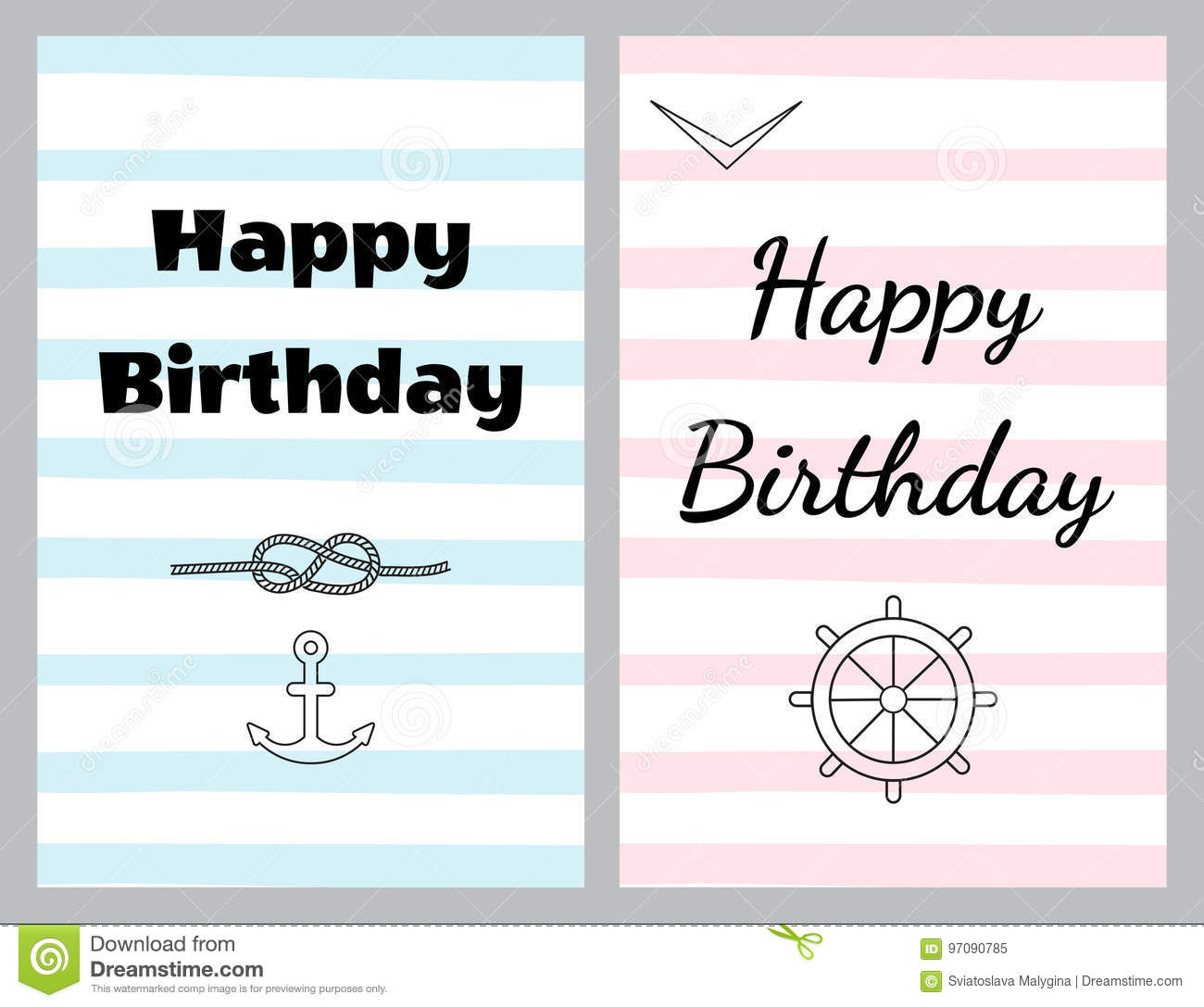 Set of birthday cards in sea style