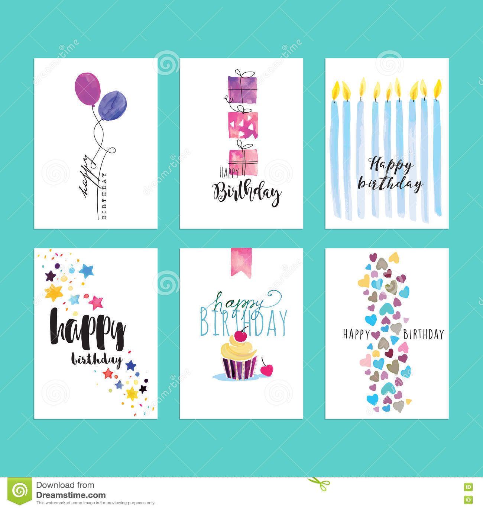 Set Of Birthday Greeting Card Templates