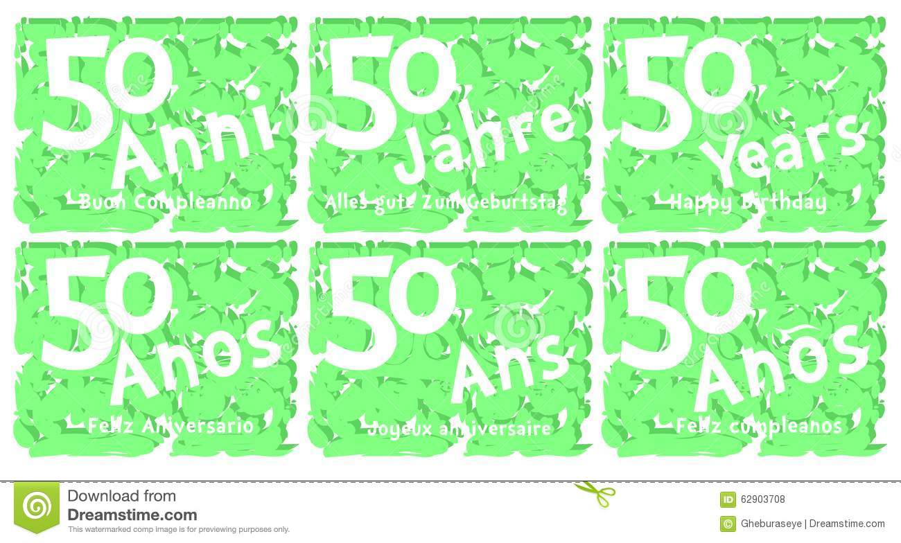 Set Of Birthday Greeting Card For 50 Years