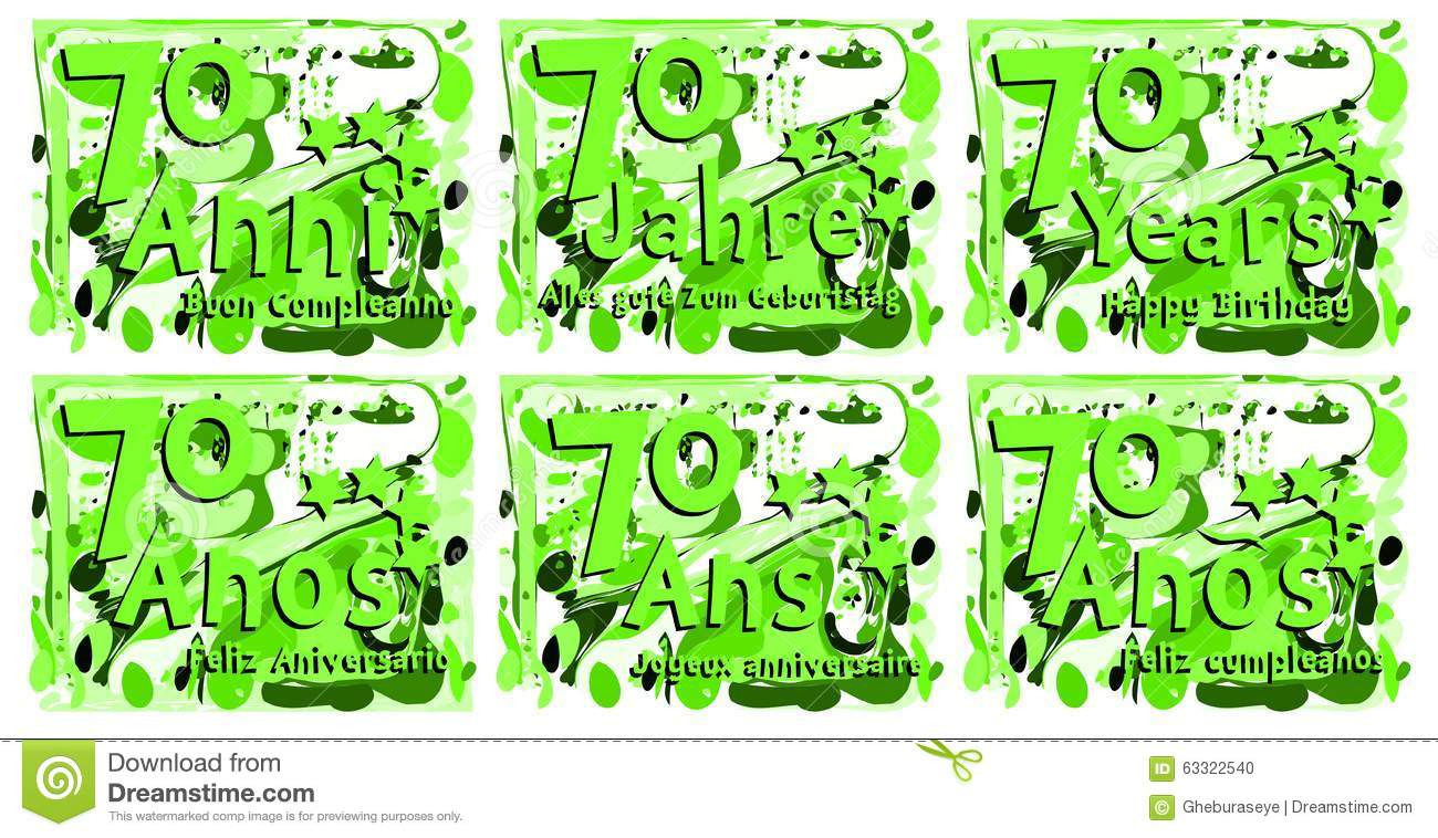 A Set Of Birthday Greeting Card For Seventy Years In Different Languages An Idea That Can Be Used Also On Gadgets