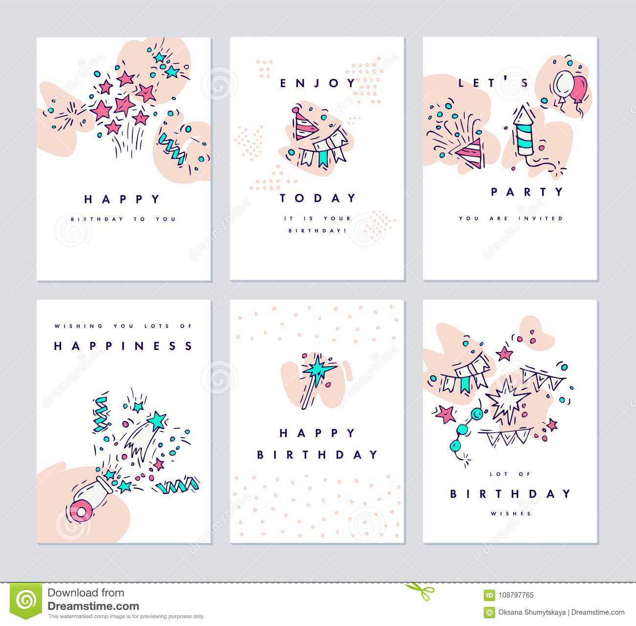 Set of birthday greeting cards and colorful party nvitation hand set of birthday greeting cards and colorful party nvitation hand drawing celebrate and party symbol vector doodle funny kristyandbryce Image collections