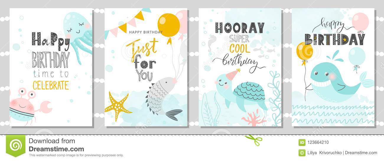 Set of birthday greeting cards and party invitation templates with set of birthday greeting cards and party invitation templates with cute crab octopus fish turtle and whale vector illustration m4hsunfo
