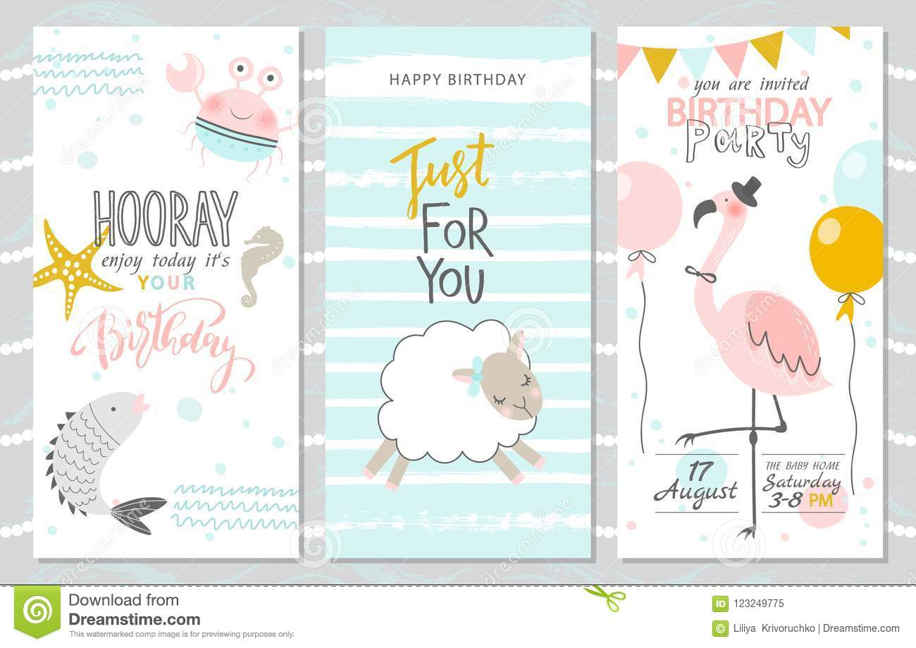 Set of birthday greeting cards and party invitation templates with cute fish, crab, lamb and pink flamingos. Vector