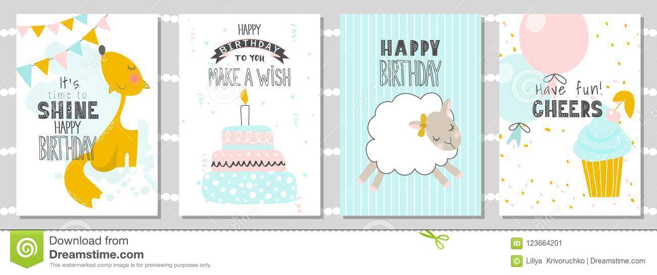 Set of Birthday greeting cards and party invitation templates with cute fox,sheep and cake. Vector illustration