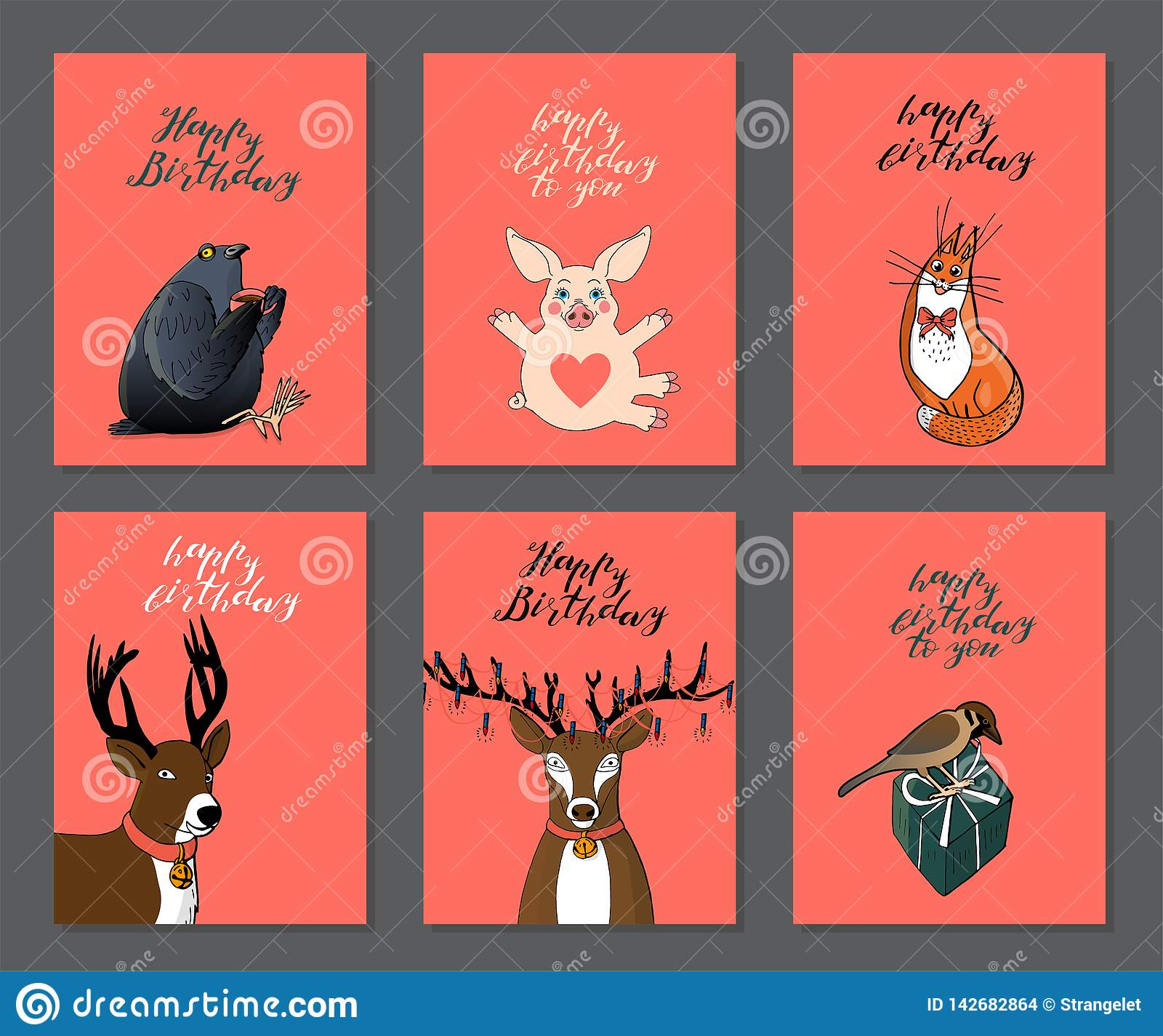 Set Of Birthday Greeting Cards On Pink Background With Cute Animals Red Cat Pigeon Deer Pig And Sparrow Stock Illustration Illustration Of Collection Character 142682864