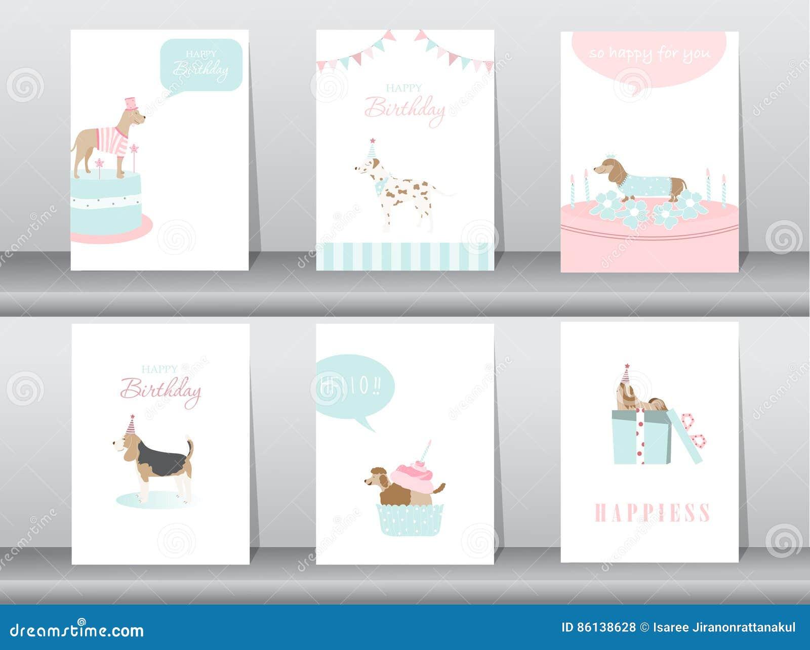 Set Of Birthday Invitations Cardspostergreetingtemplateanimalsdogs