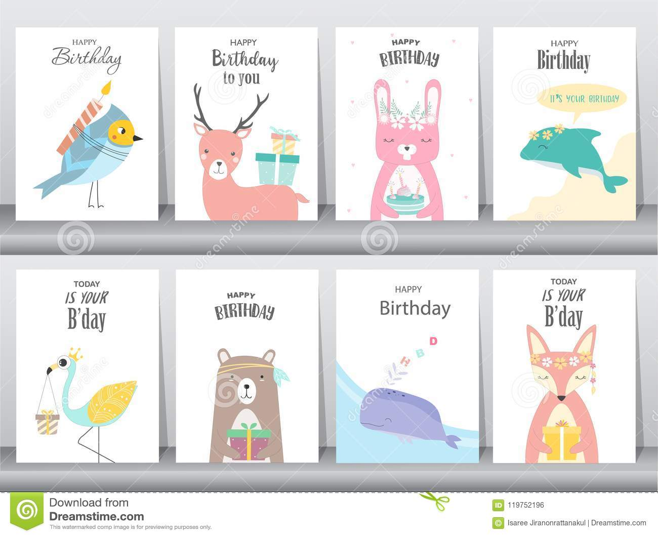 Set Of Birthday Invitations Cards Poster Greeting Template