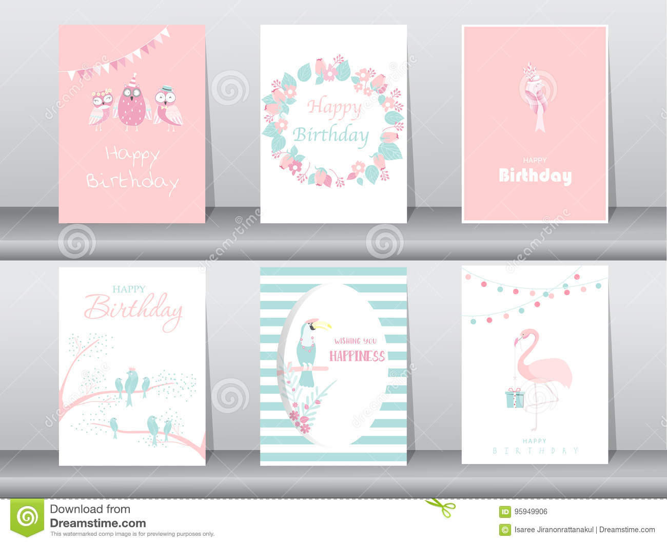 Set of birthday invitations cards,poster,greeting,template,bird,owl,flamingo,Vector illustrations
