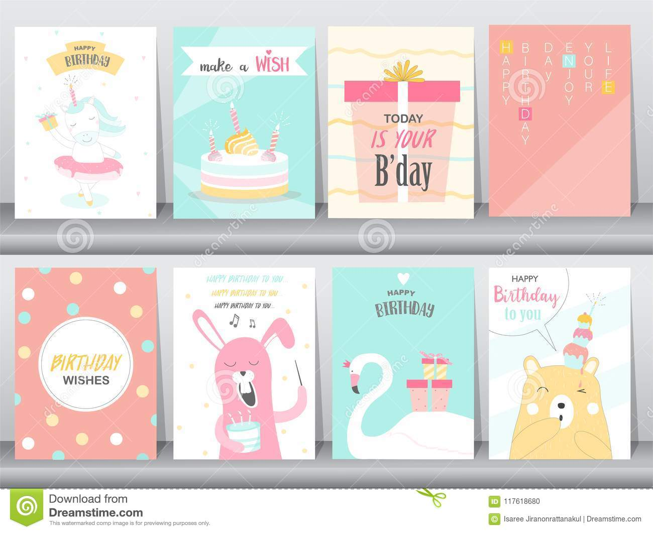 Set Of Birthday Invitations Cards Poster Greeting