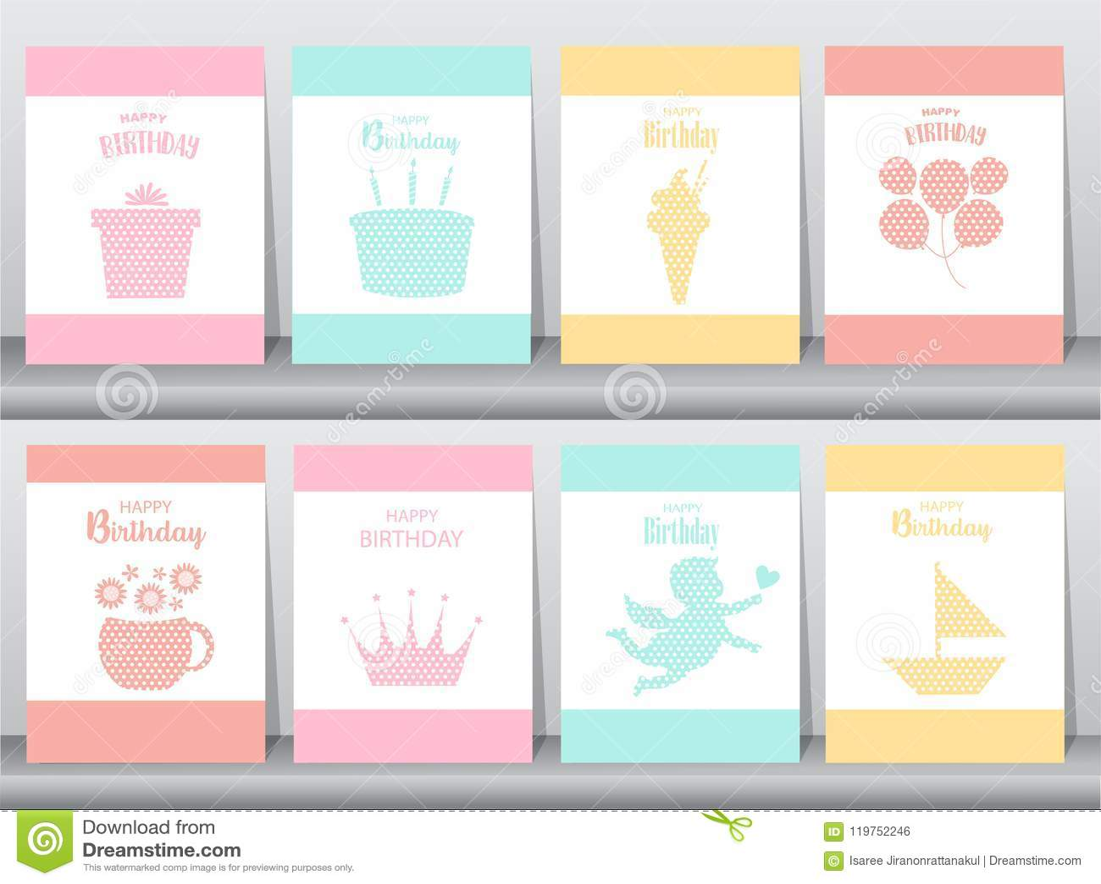Set of birthday invitations on paper cards poster greeting download set of birthday invitations on paper cards poster greeting template animals filmwisefo