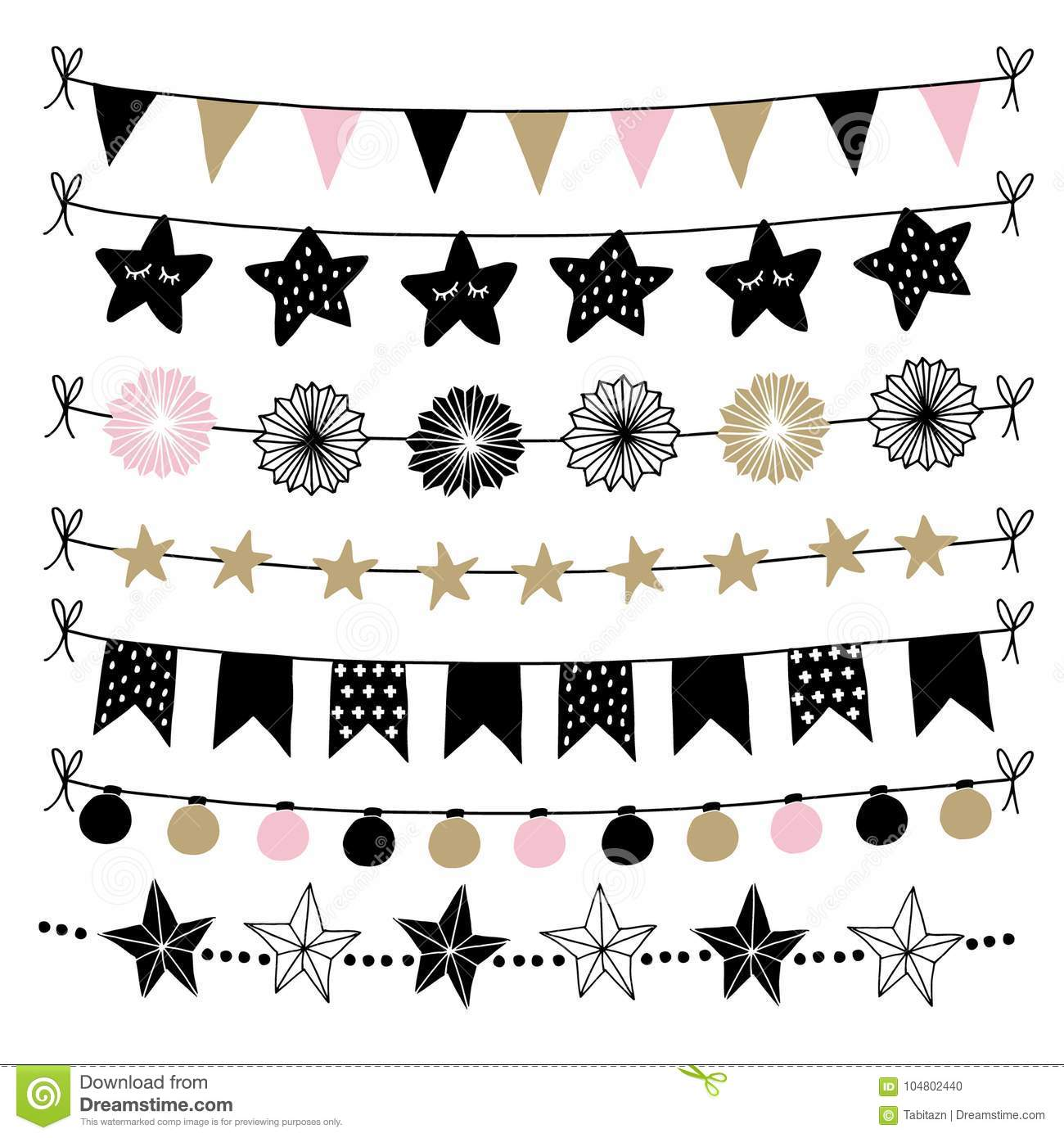 Set of birthday, New Year decorative borders, strings, garlands, brushes. Party decoration with Christmas balls, baubles